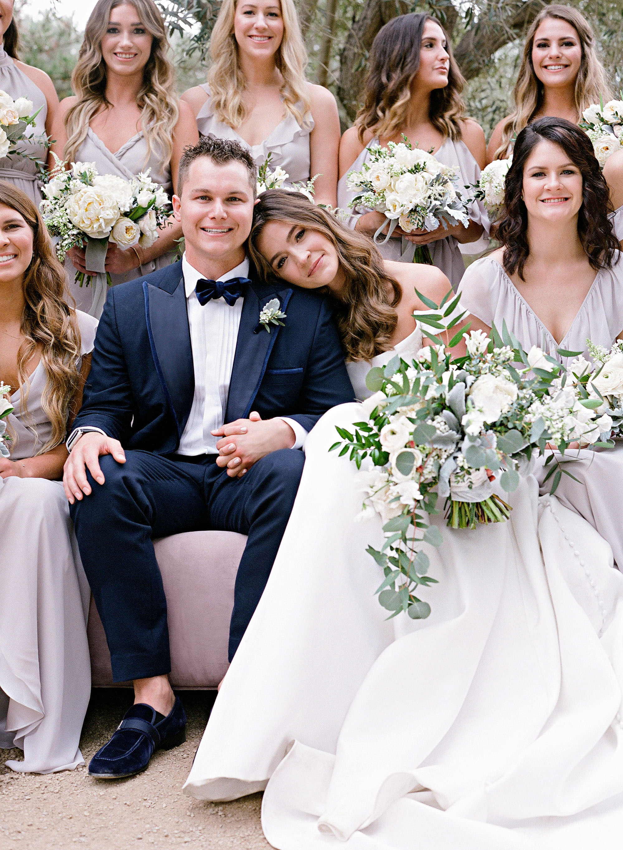 kelsey joc wedding santa barbara california groom and bridesmaids