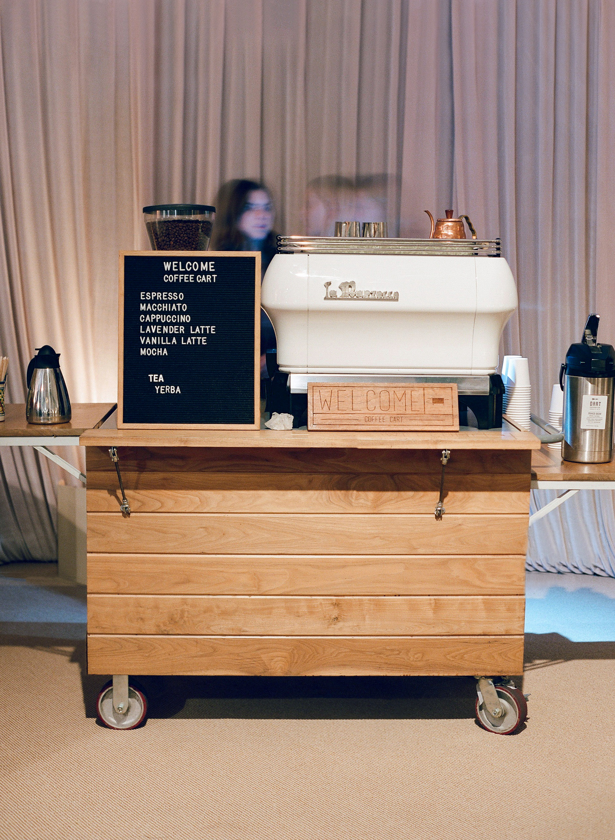 kelsey joc wedding santa barbara california coffee cart