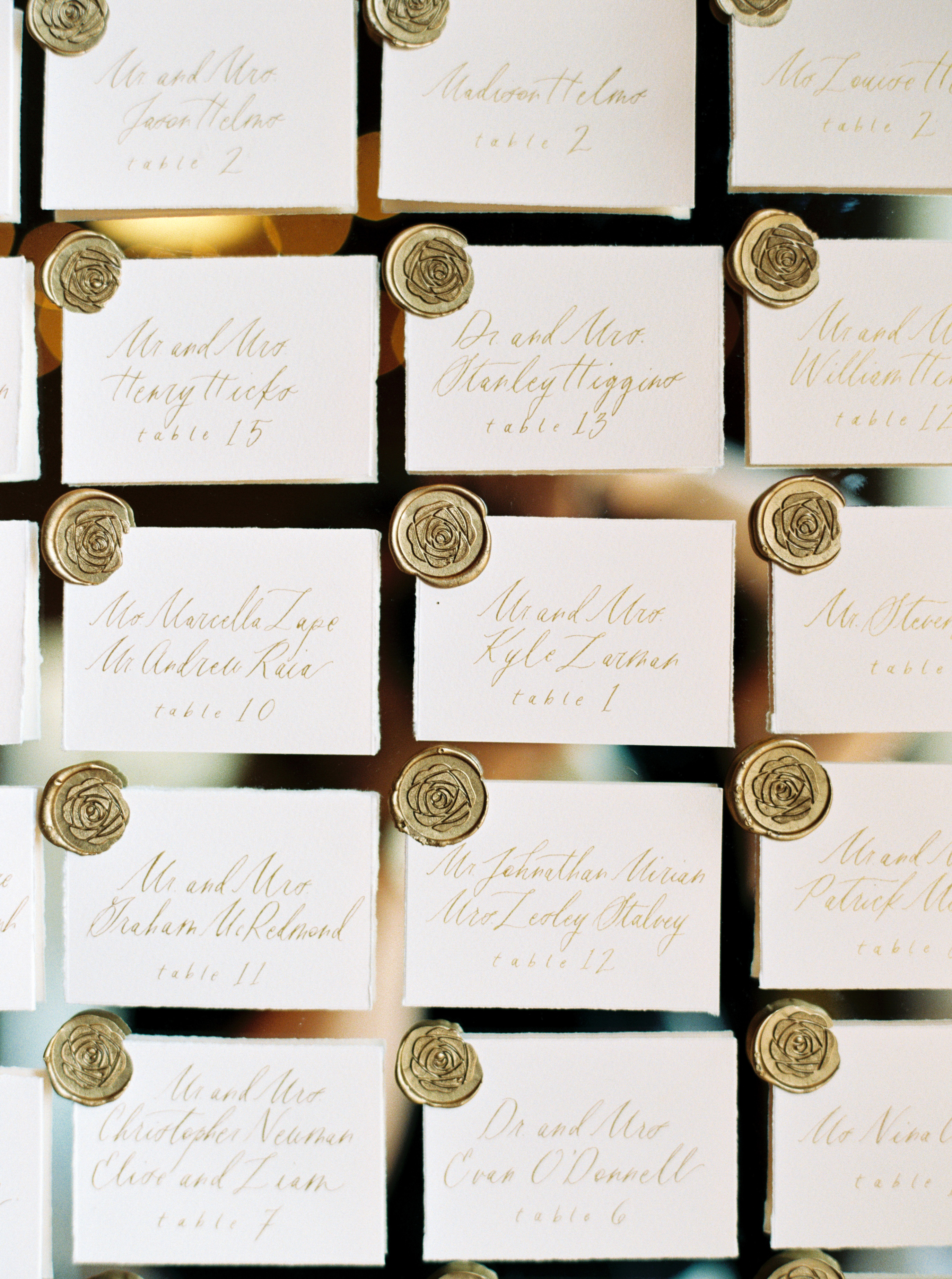 amanda william wedding tennessee escort cards wax seal