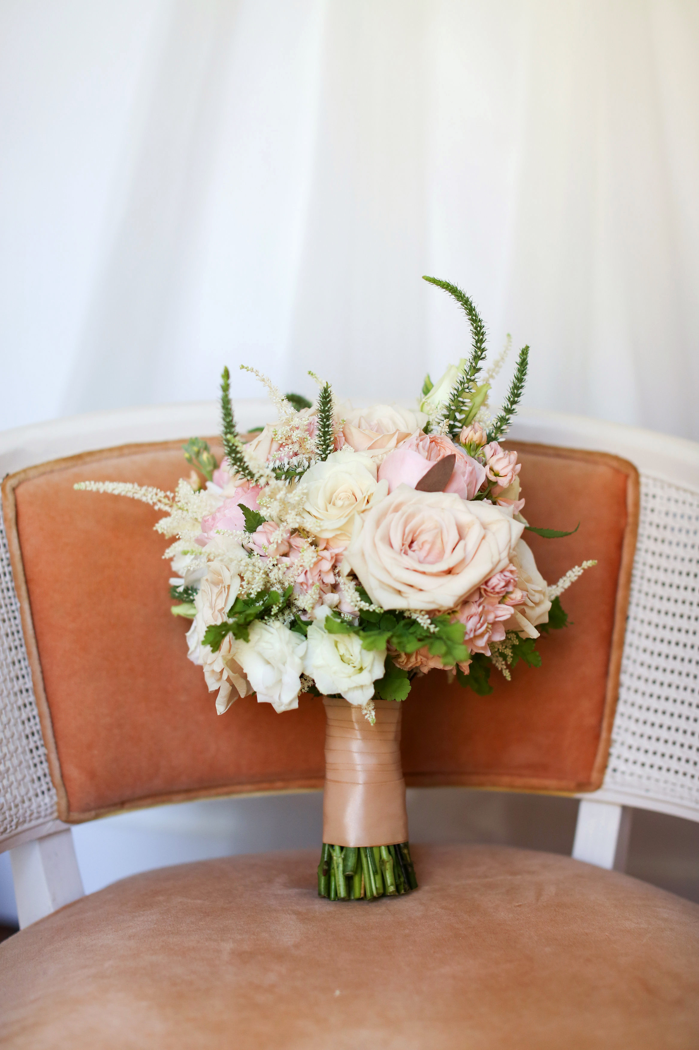bouquet wraps flowers chair pastels