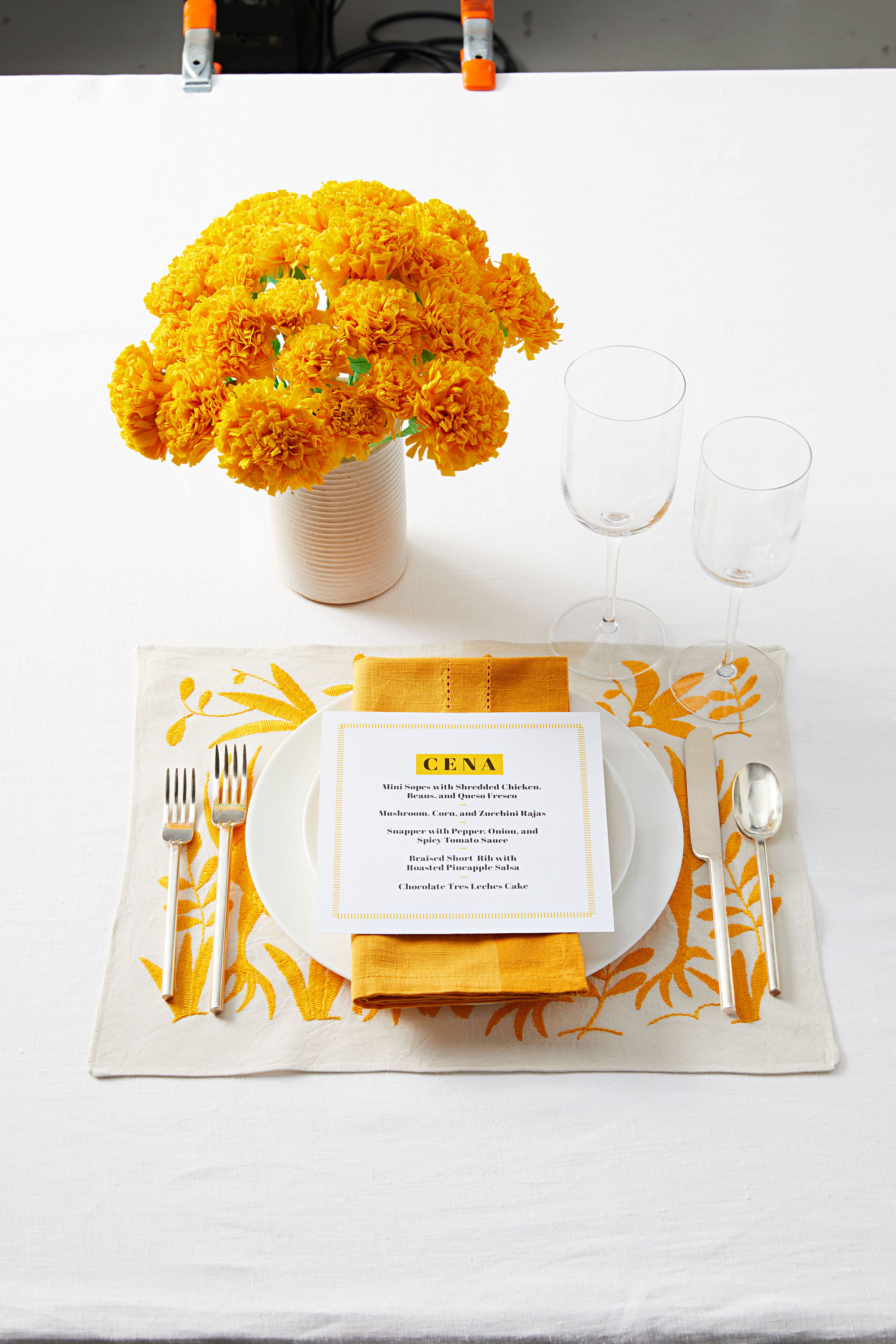 yellow mexican table setting