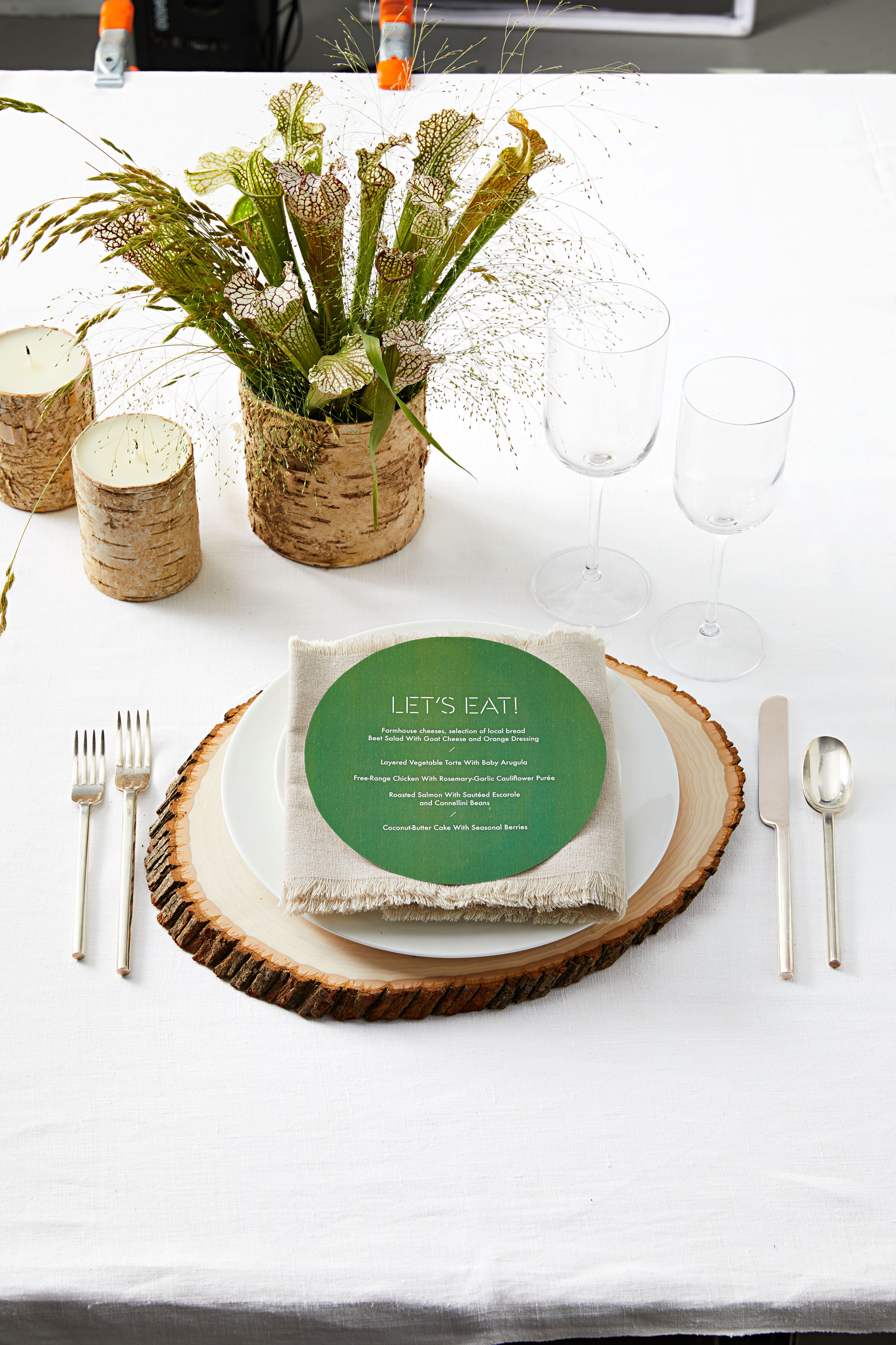 woodland themed table setting