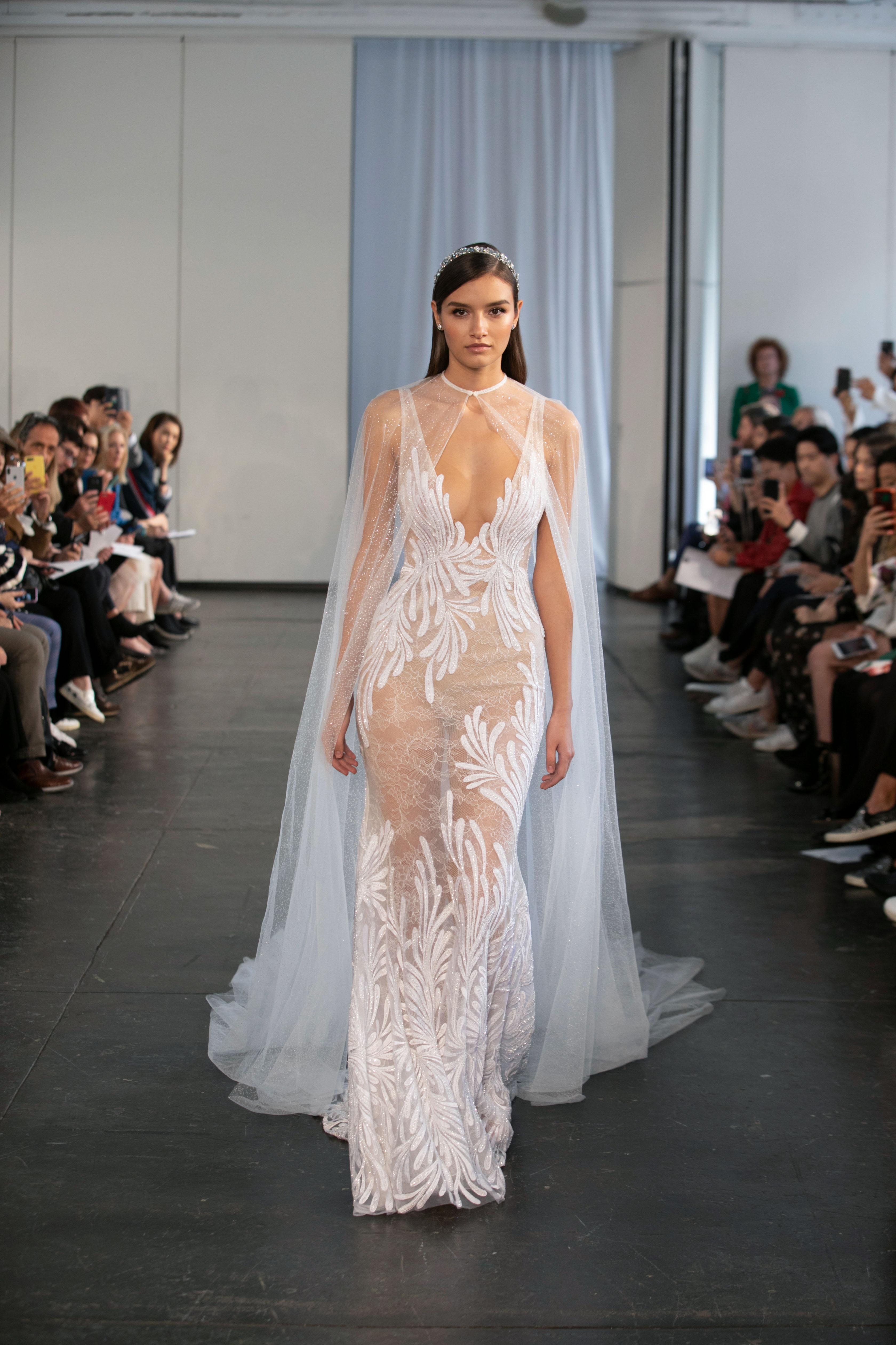 berta fall 2019 sheath v-neck cape wedding dress