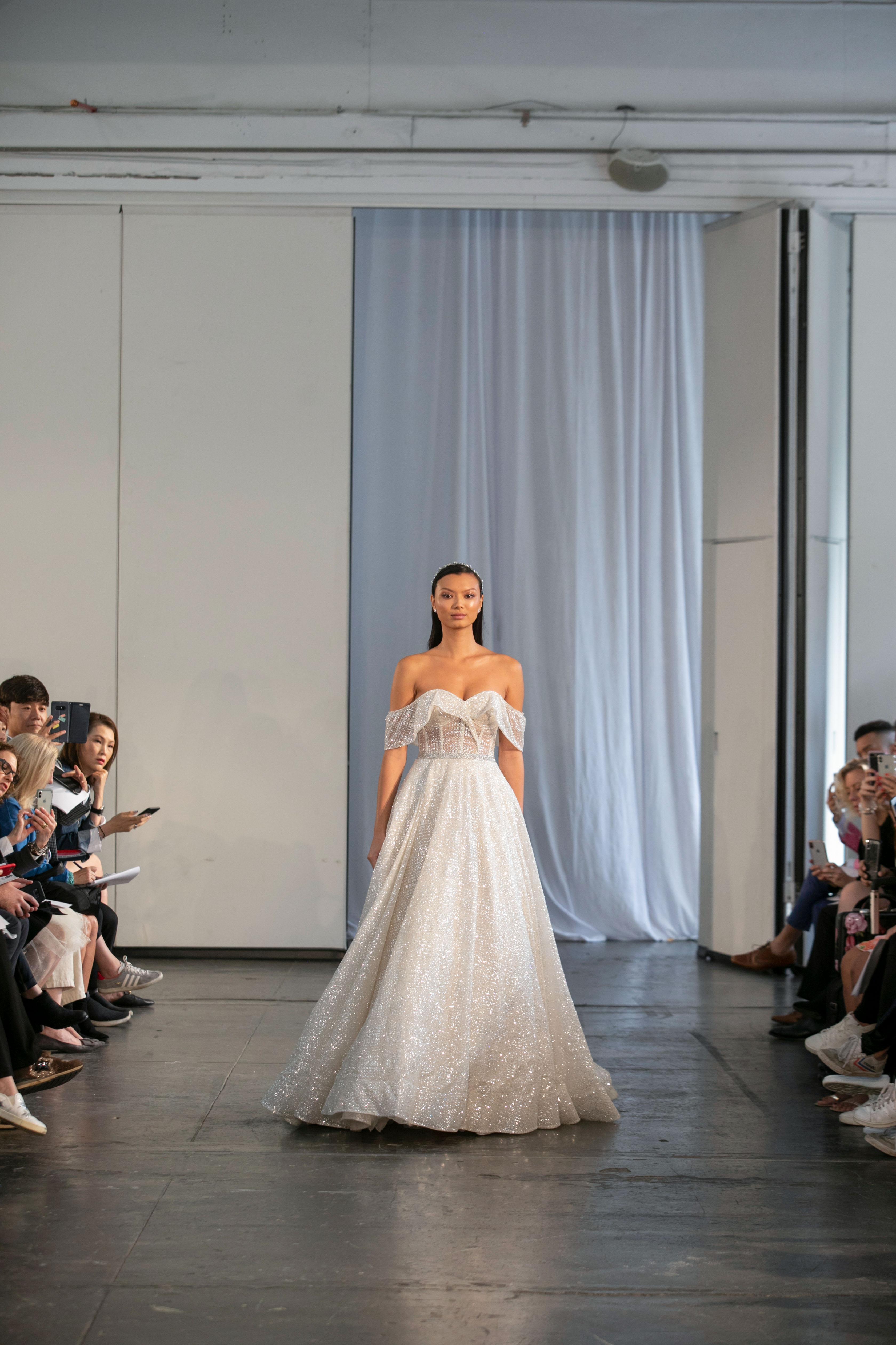 berta fall 2019 over the shoulder glitter a-line wedding dress