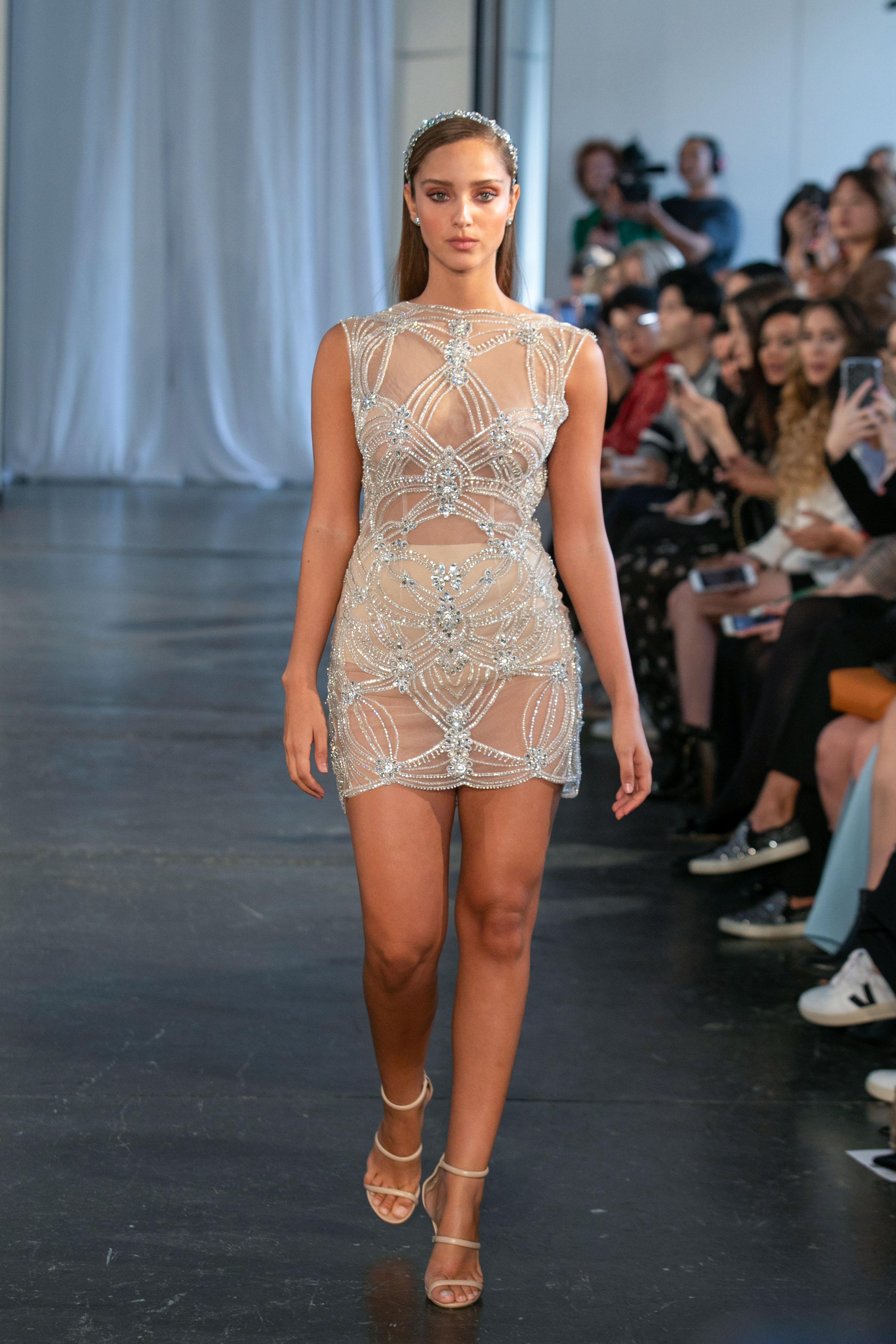 berta fall 2019 sheer high neck short wedding dress
