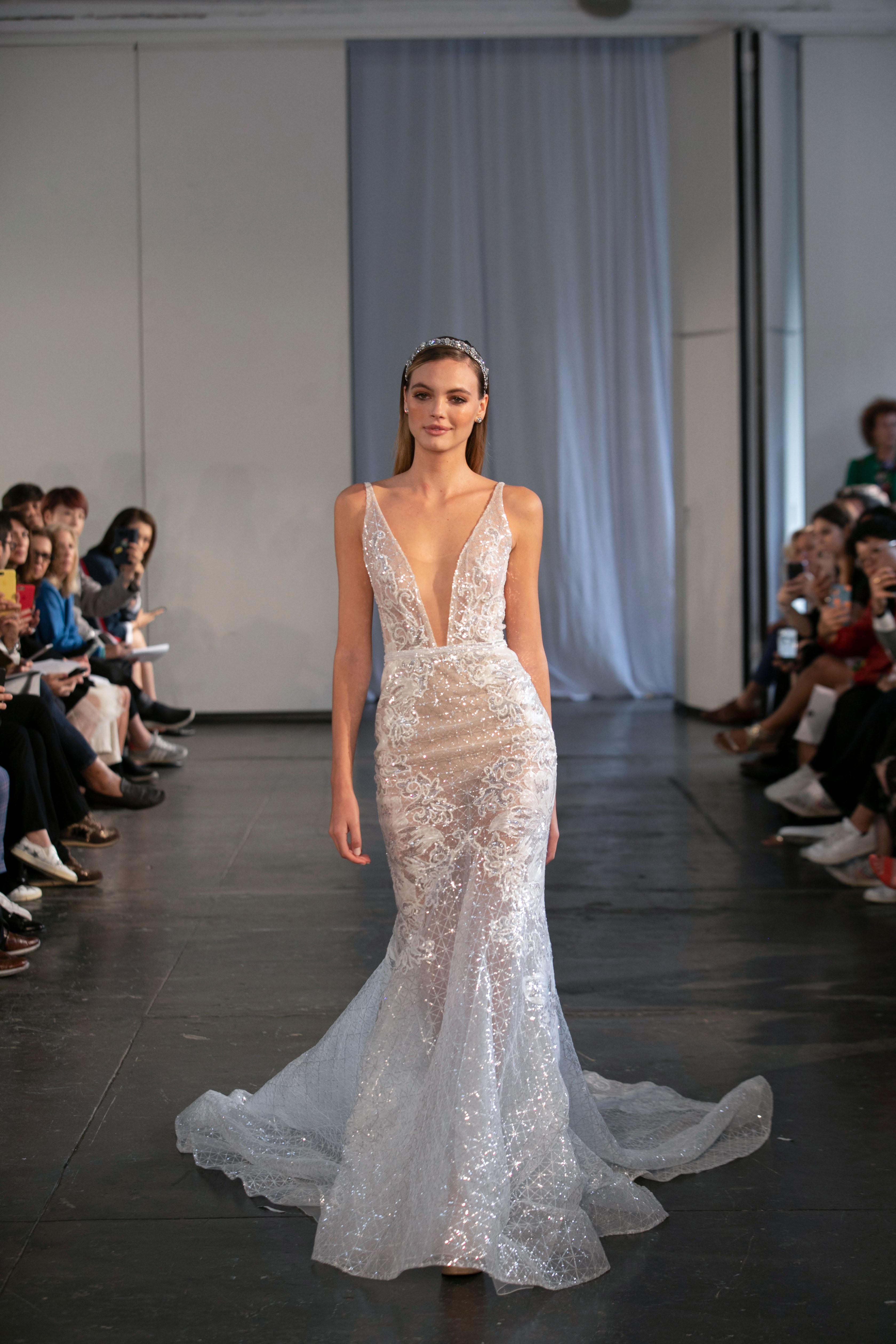 berta fall 2019 v-neck glitter trumpet wedding dress
