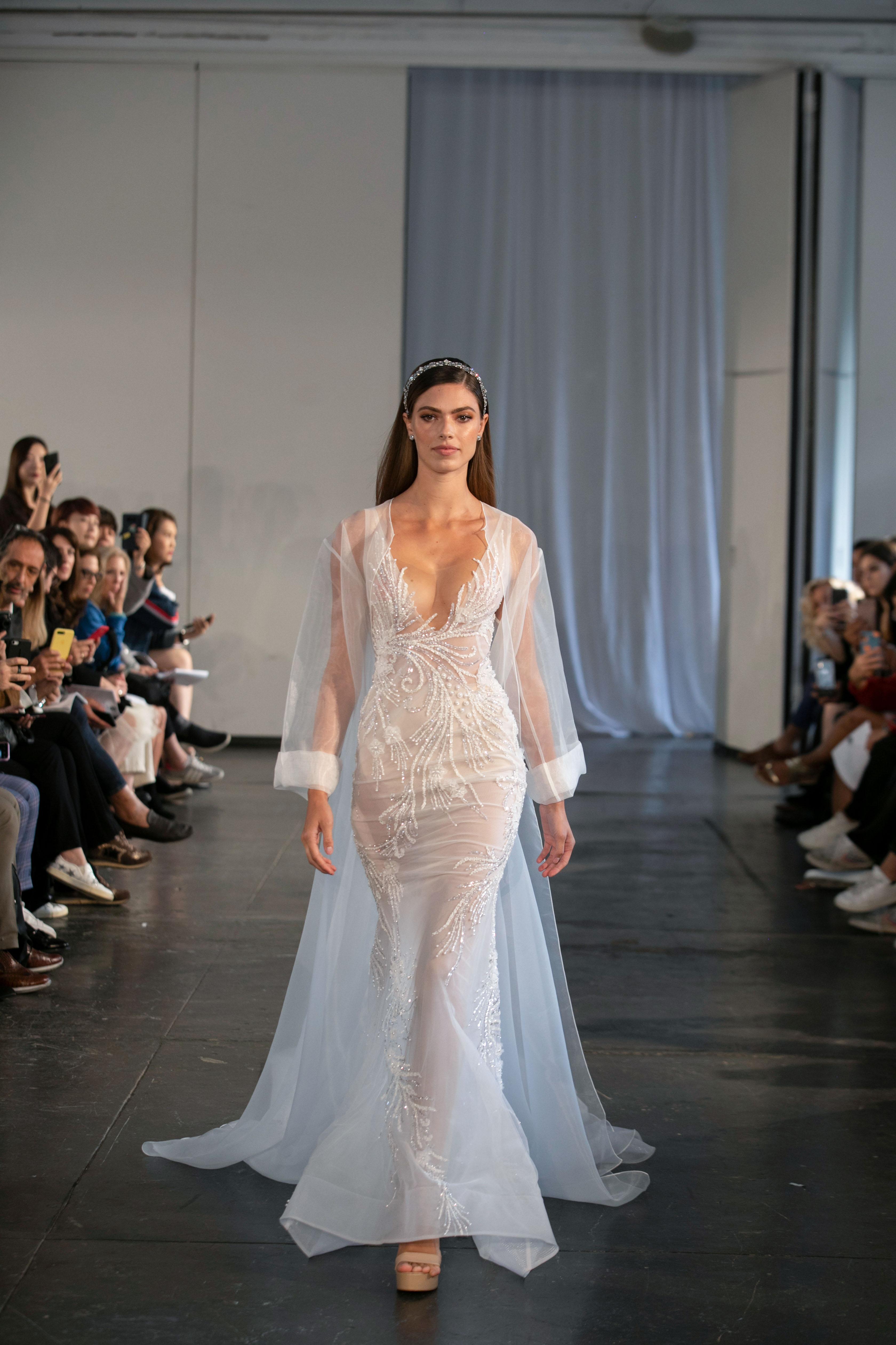 berta fall 2019 sheer mermaid cape wedding dress