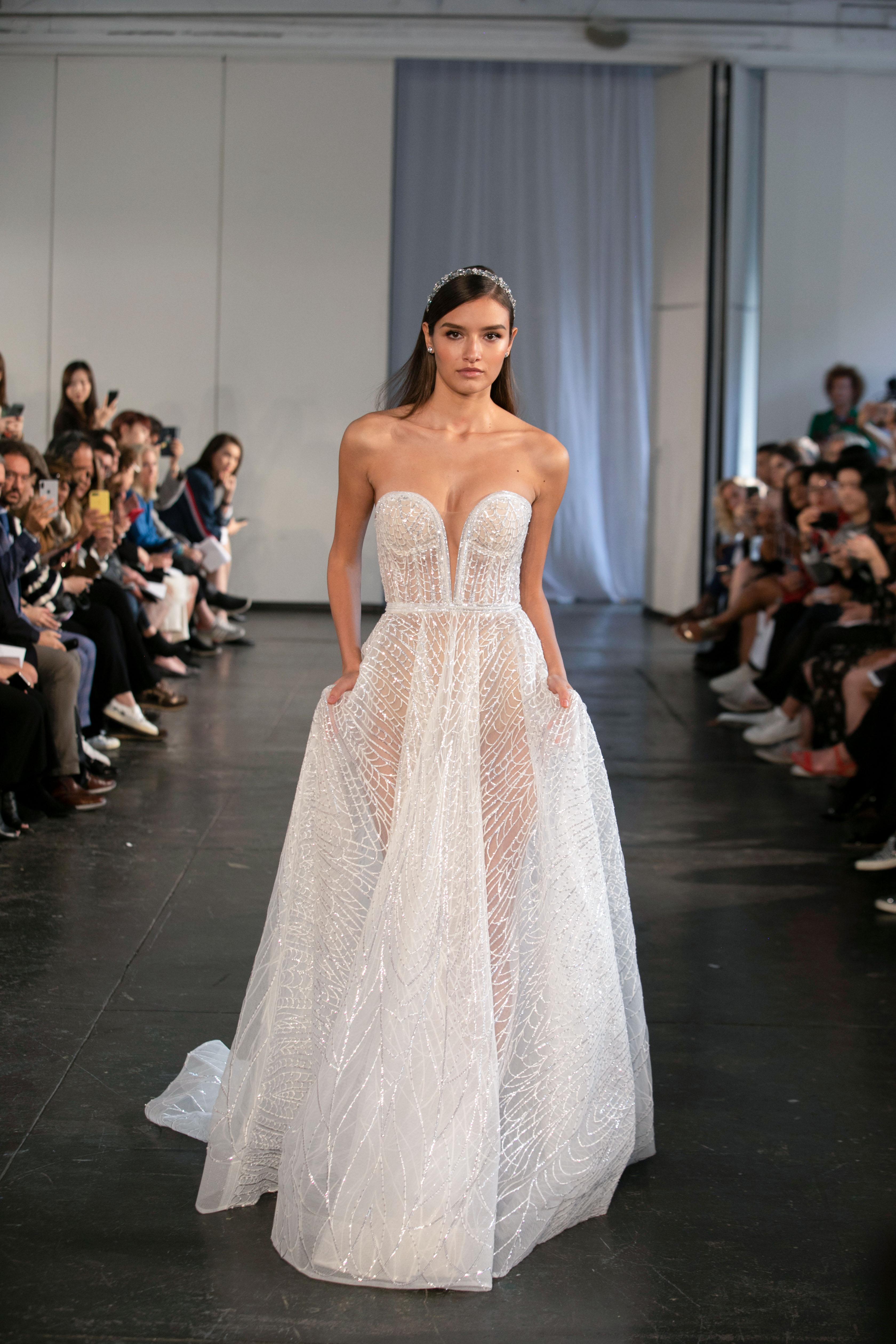 berta fall 2019 strapless sheer ball gown wedding dress