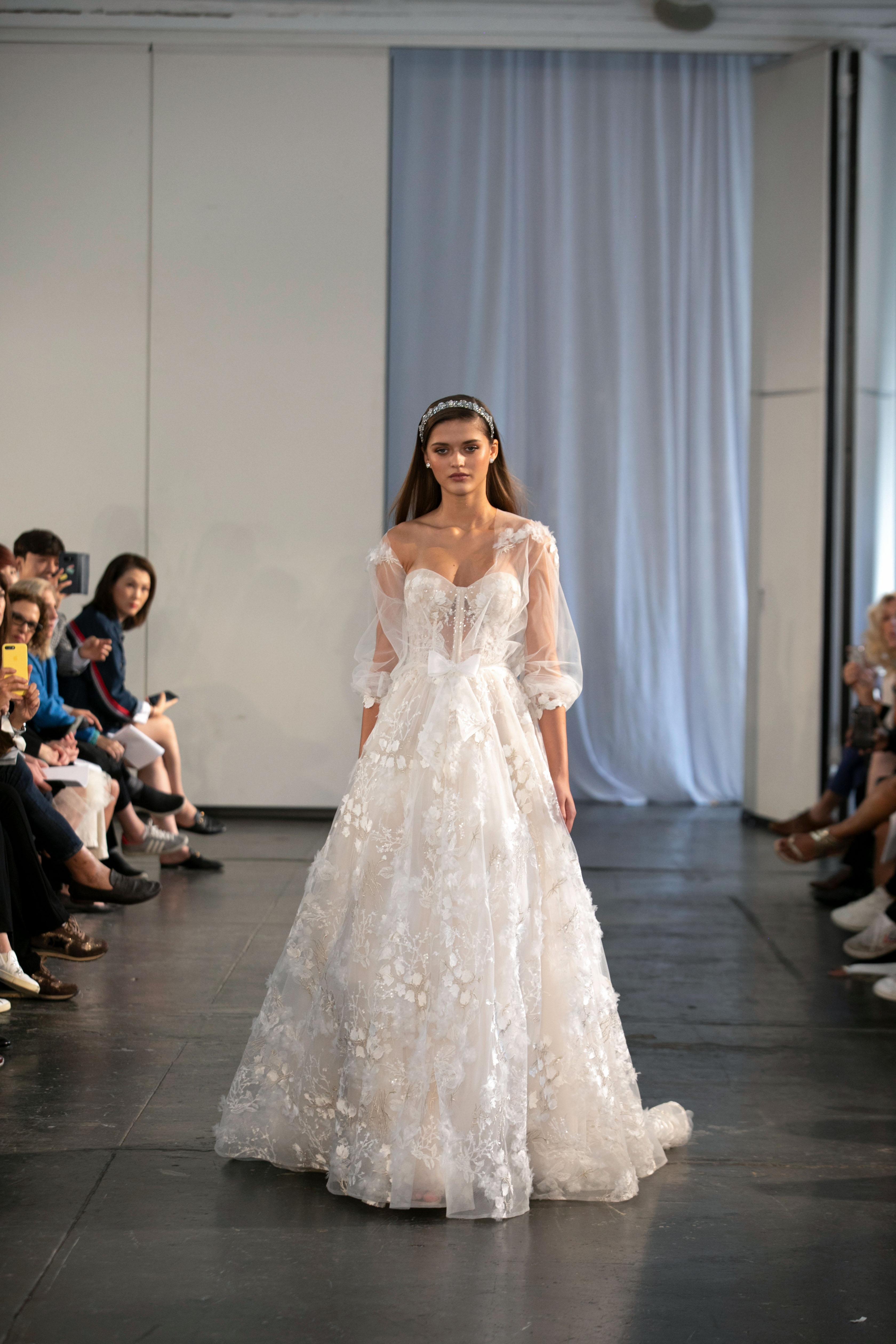 berta fall 2019 strapless floral applique ball gown wedding dress