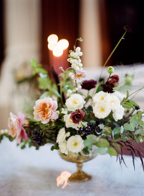 compote centerpieces muted color bouquet in gold compote