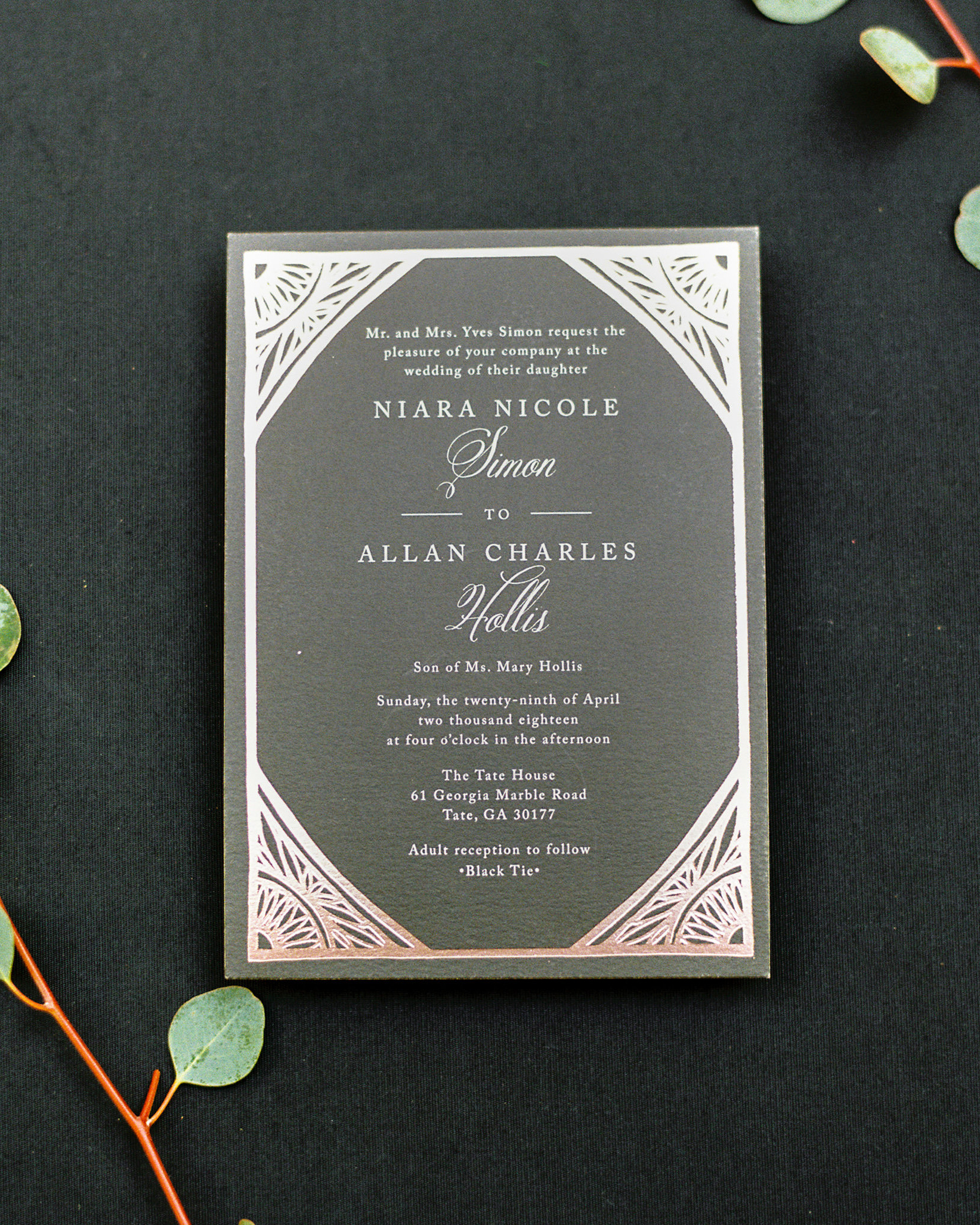 niara allen wedding invitation
