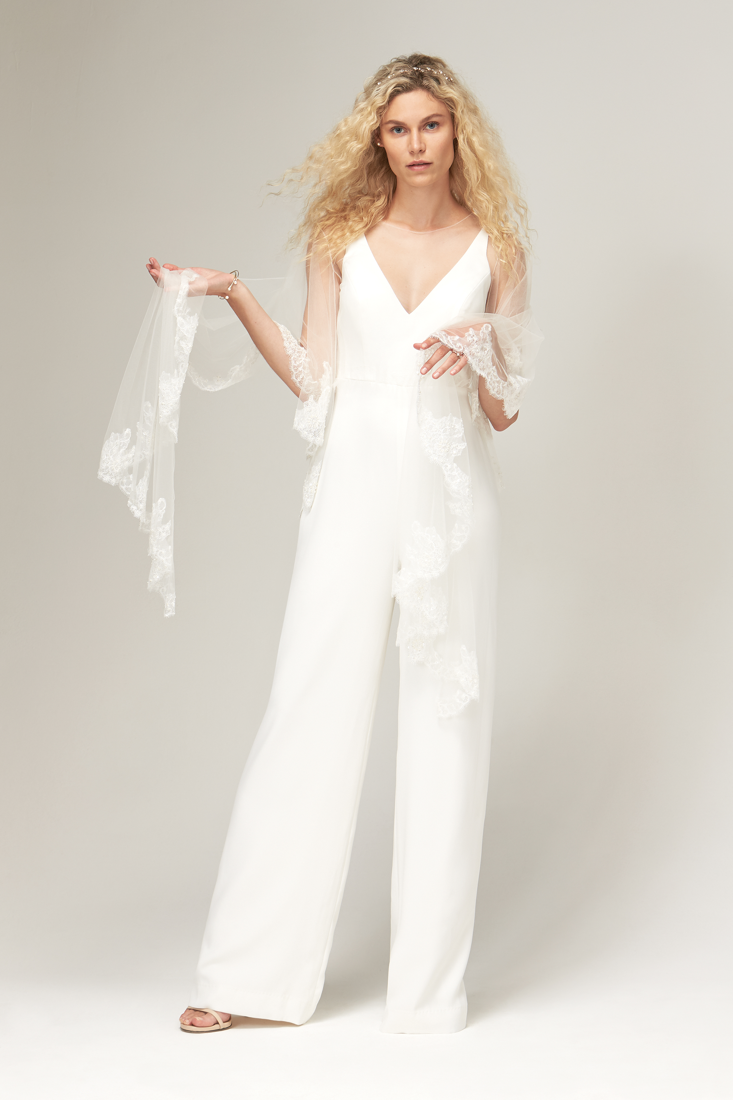 savannah miller fall 2019 jumpsuit v neck sleeveless sheer lace shawl