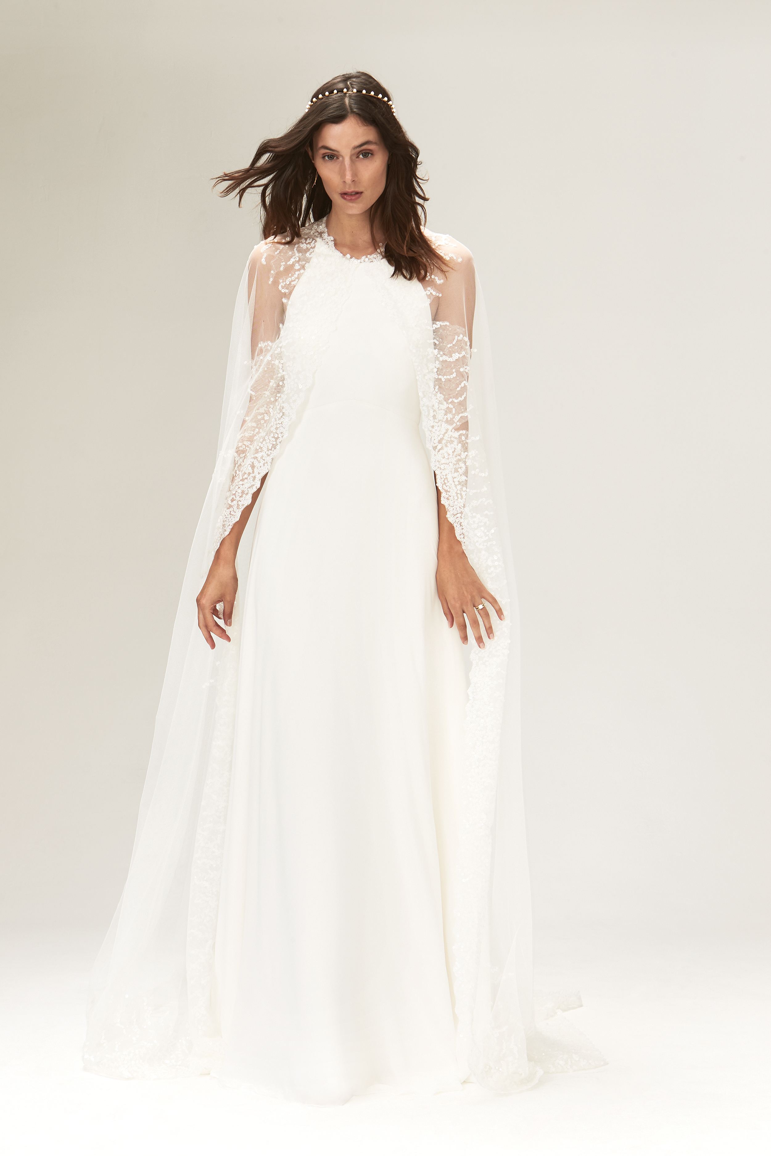 savannah miller fall 2019 a line high neck sleeveless sheer lace cape