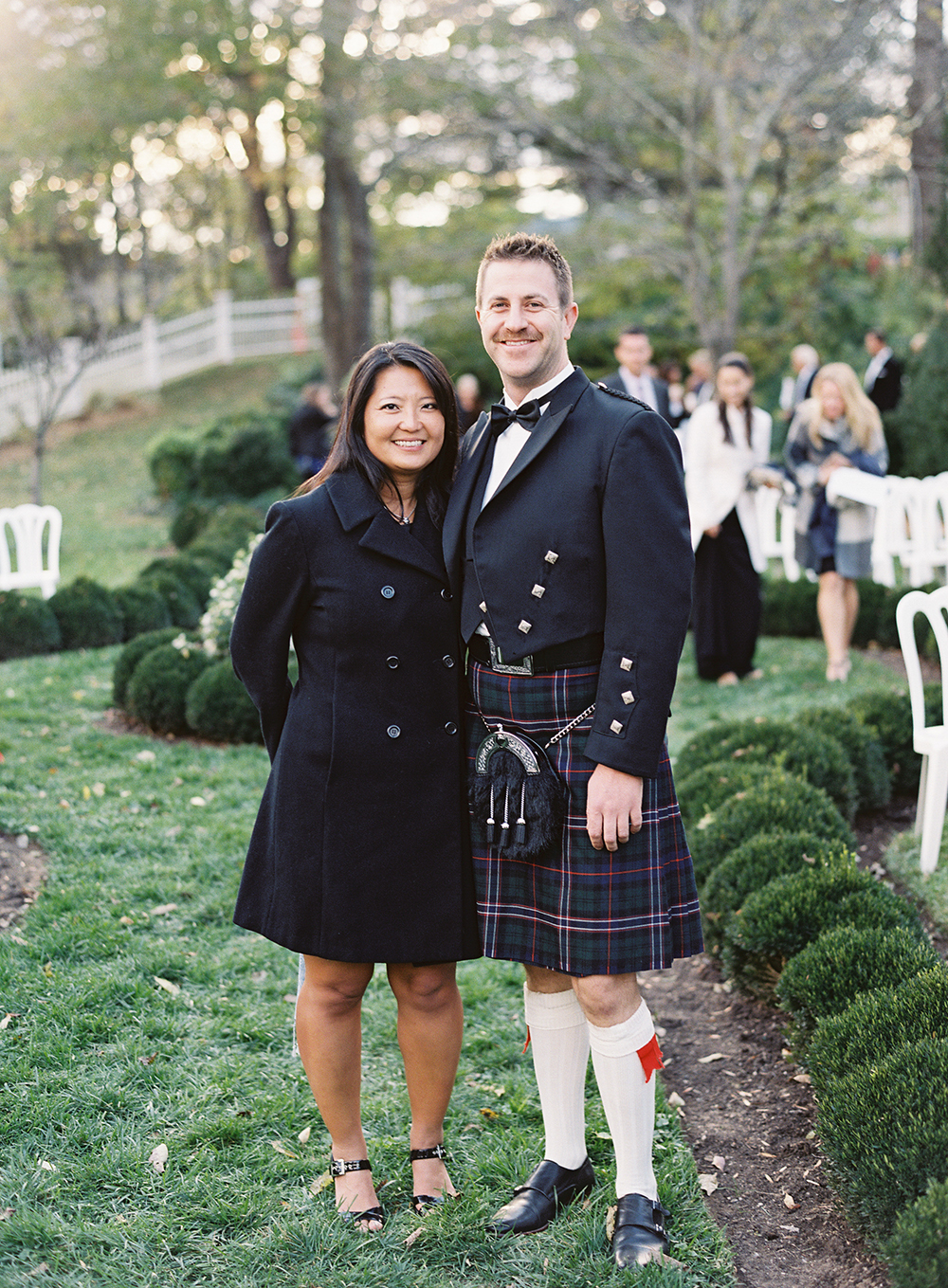 fall wedding guests attire layers jacket dress kilt