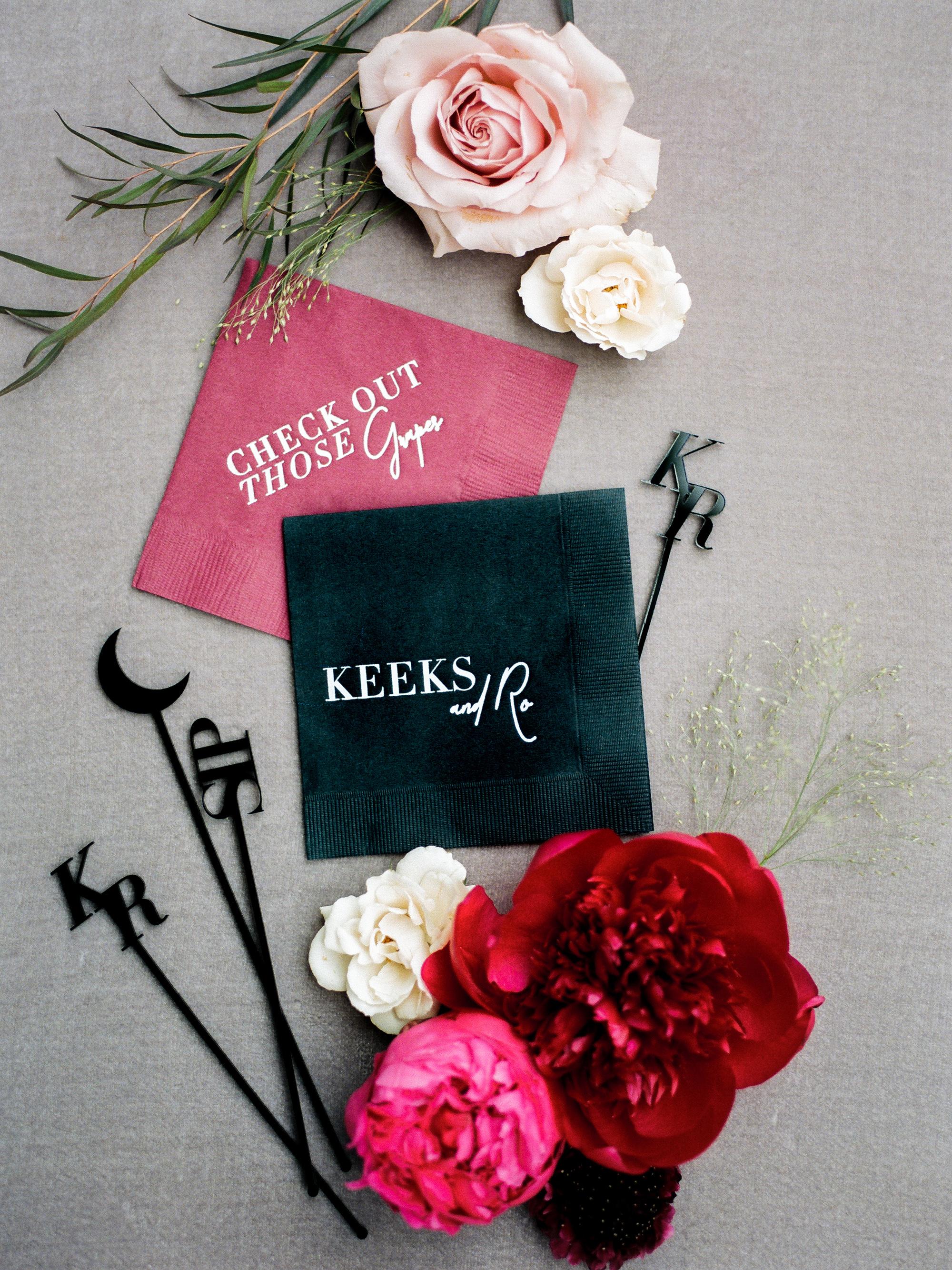 kiersten ruairi wedding cocktail napkins
