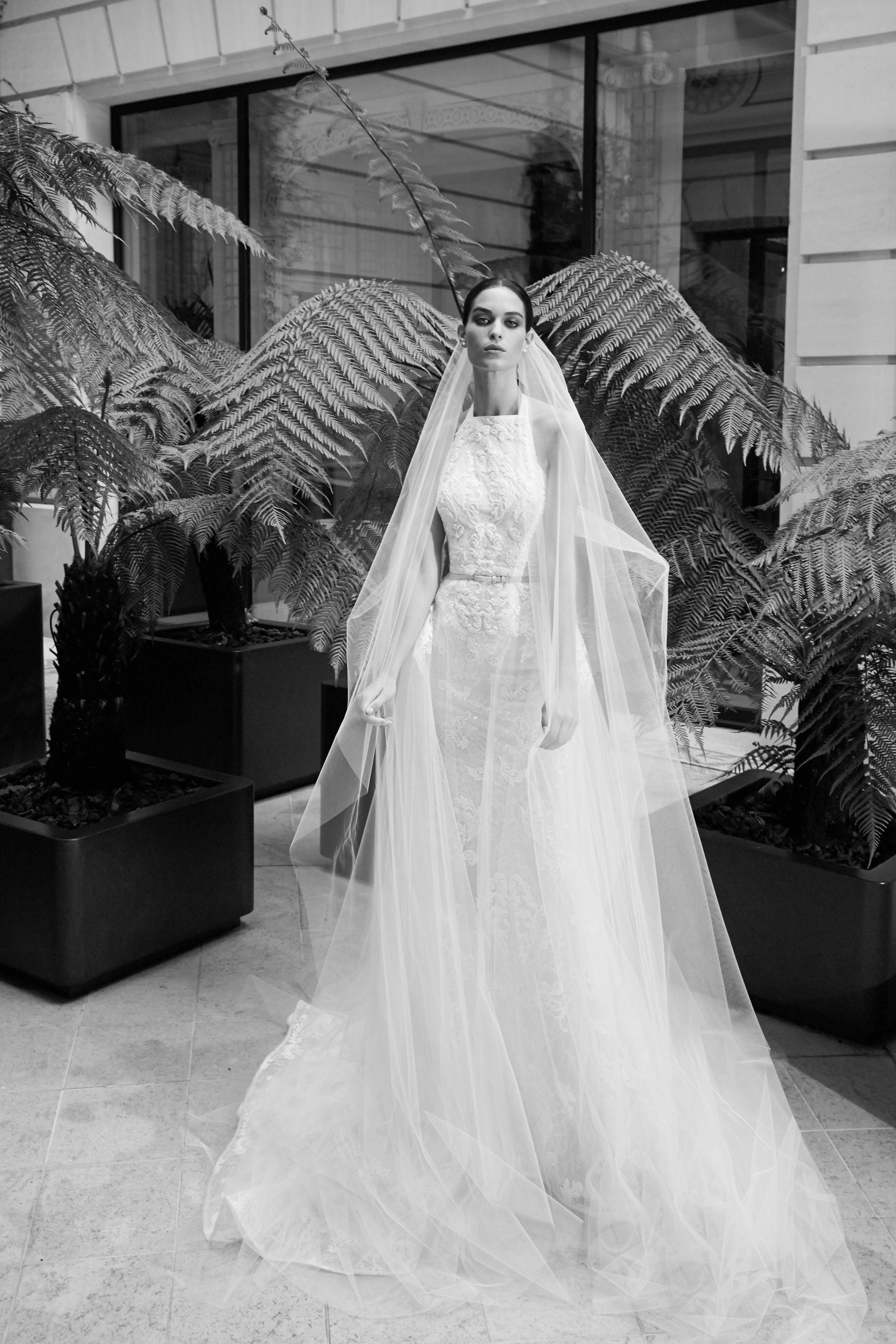 elie saab fall 2019 high neck with belt wedding dress