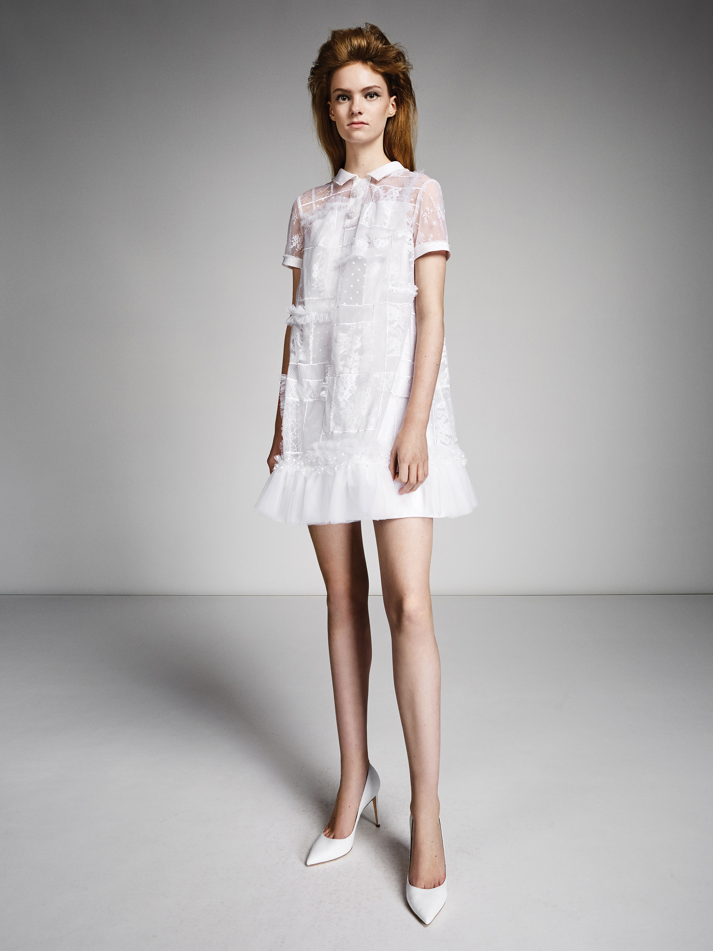 viktor rolf marriage fall 2019 button down sheer short sleeve short sheath