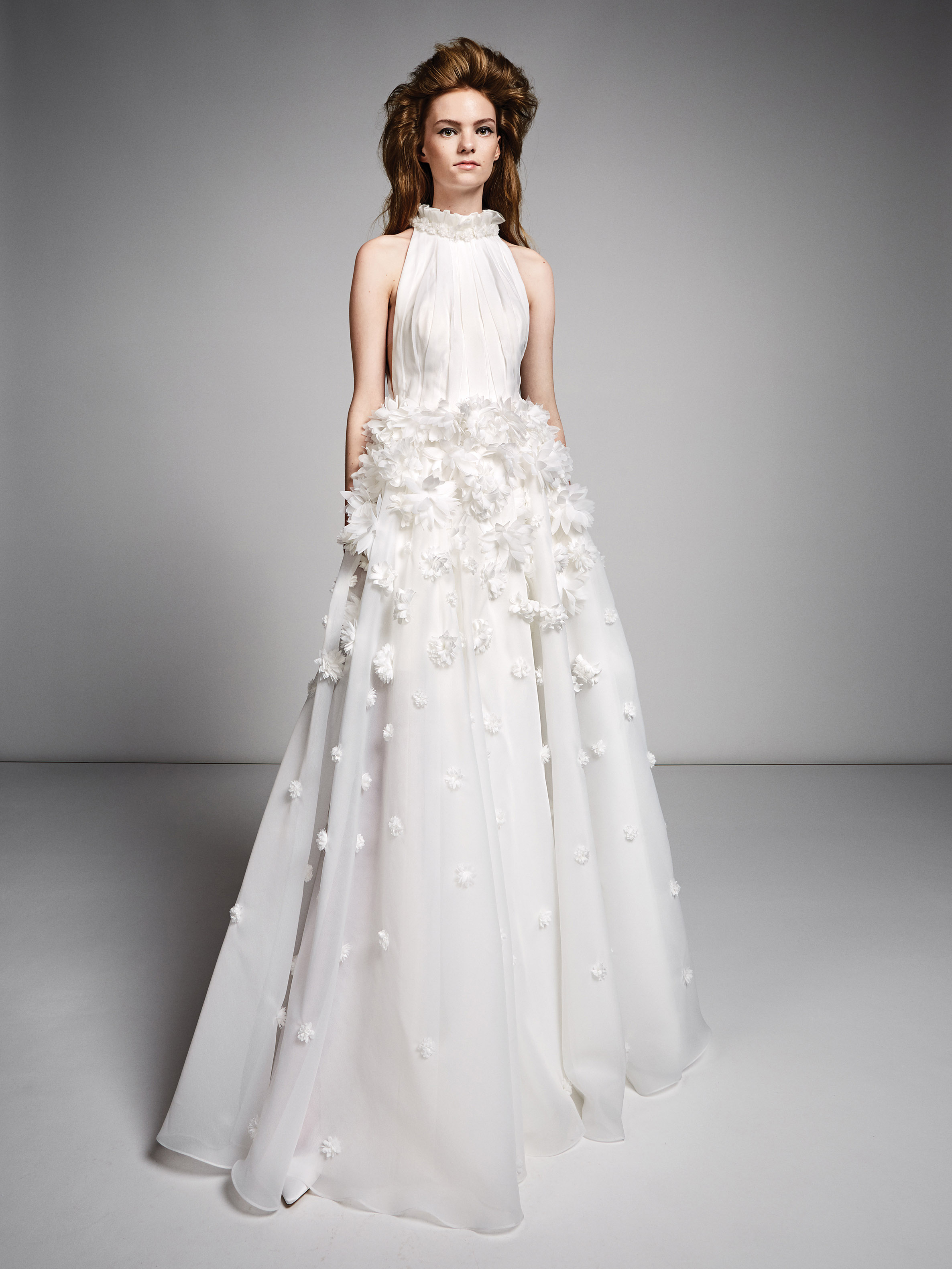 viktor rolf marriage fall 2019 ruffled turtleneck halter a-line gown with floral applique