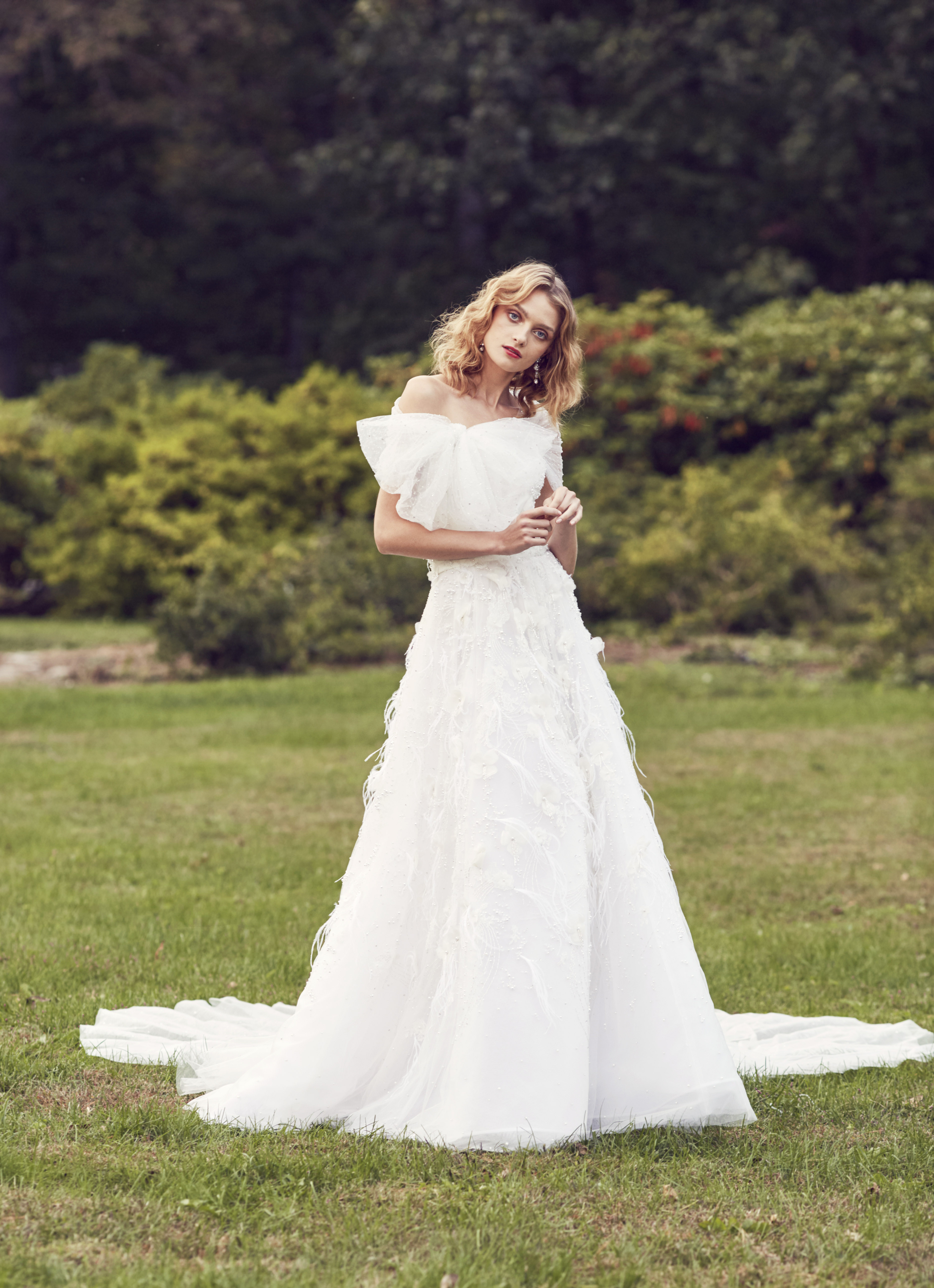 Marchesa off the shoulder ball gown wedding dress fall 2019