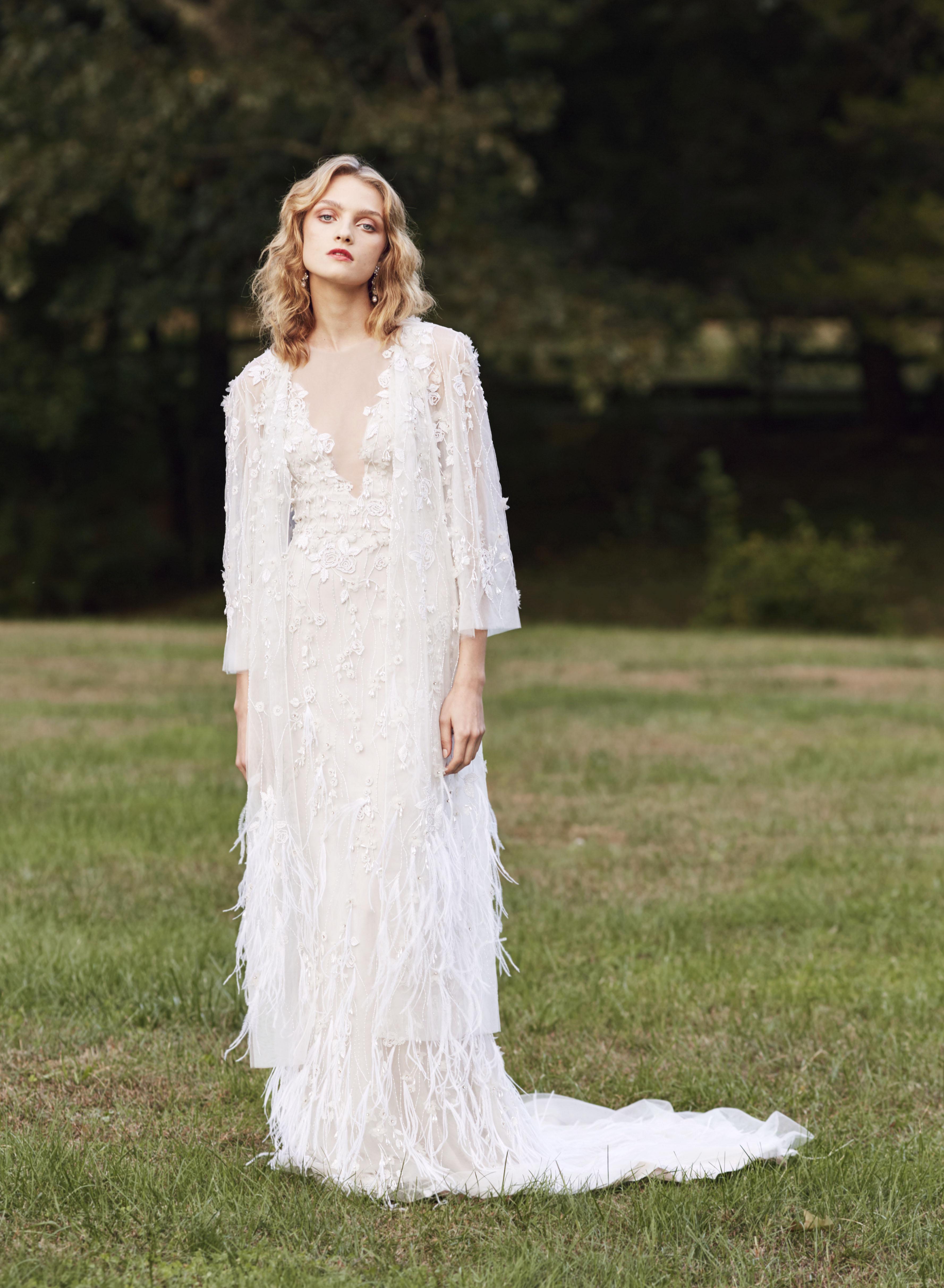Marchesa v-neck long sleeves wedding dress fall 2019