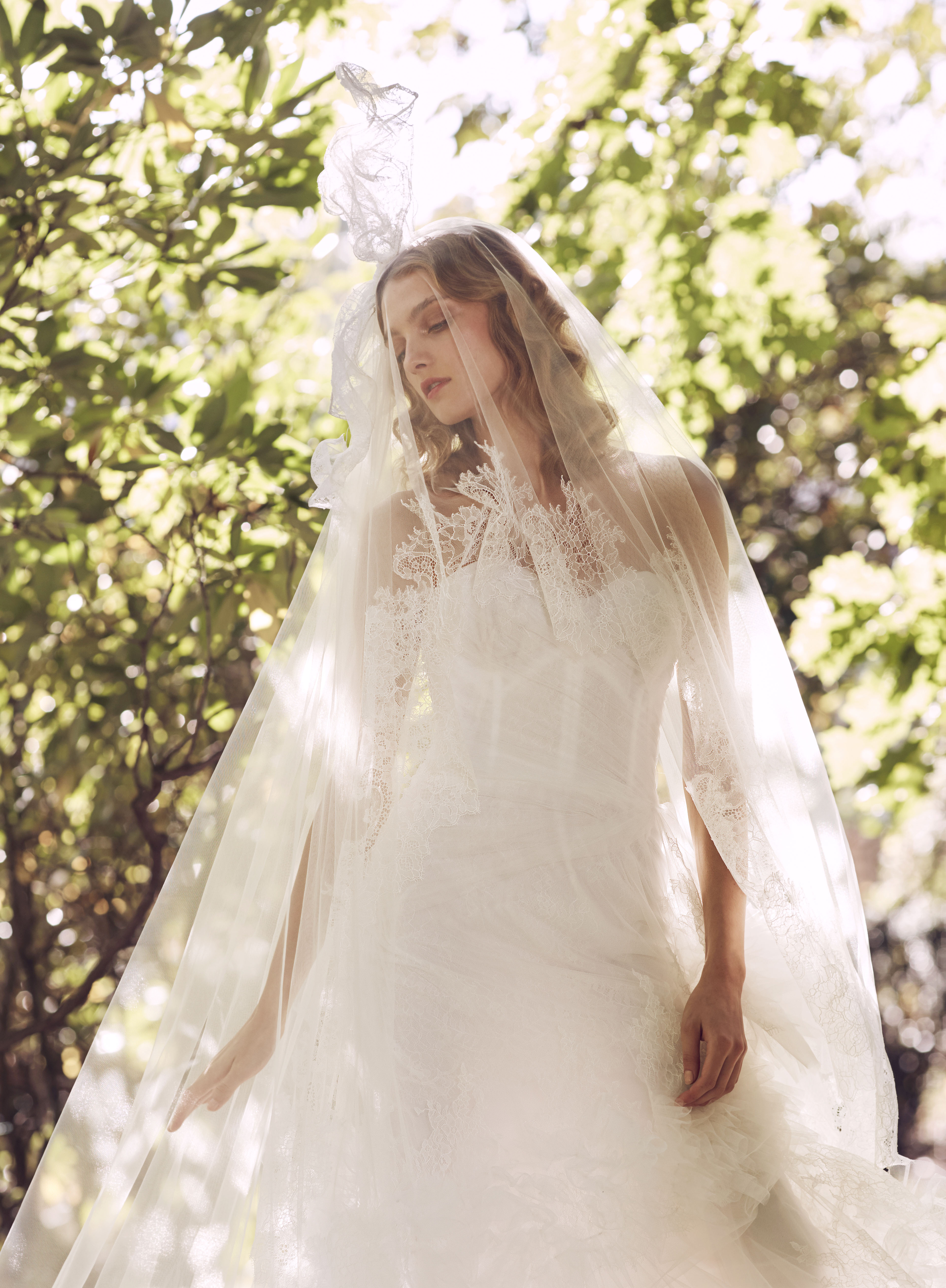 Marchesa lace sweetheart with veil wedding dress fall 2019