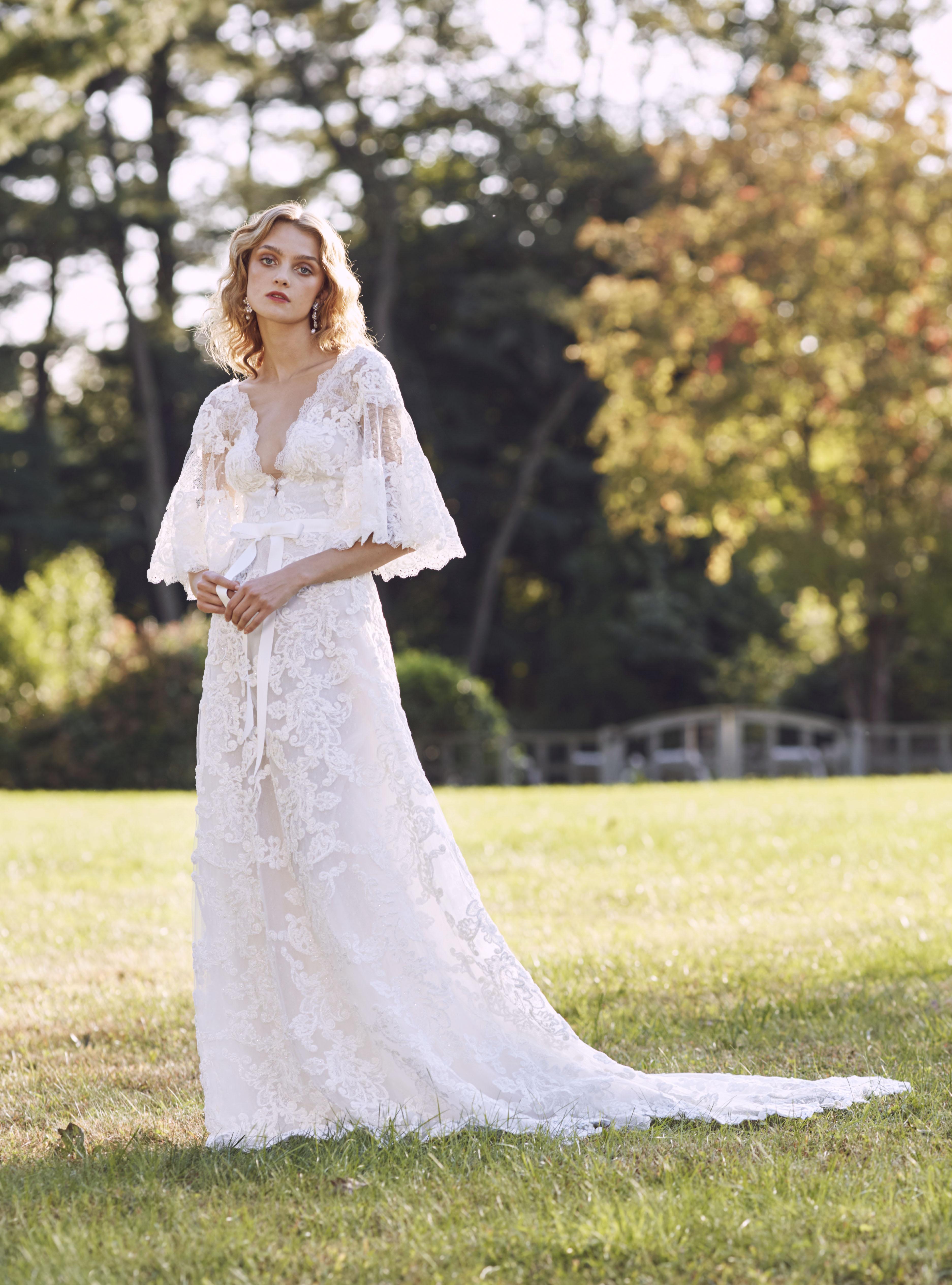 Marchesa plunging v-neck wedding dress fall 2019