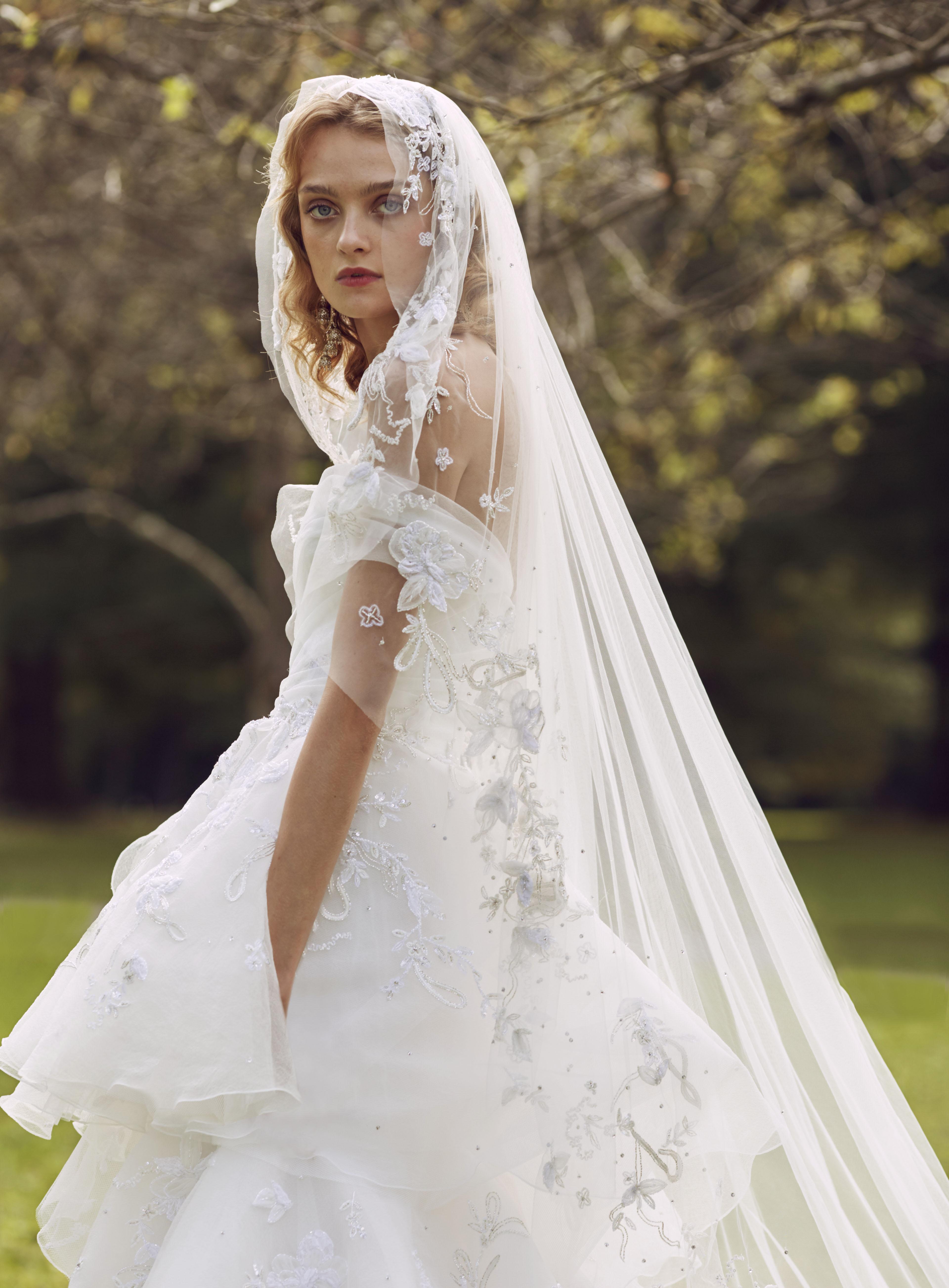 Marchesa off the shoulder illusion wedding dress fall 2019