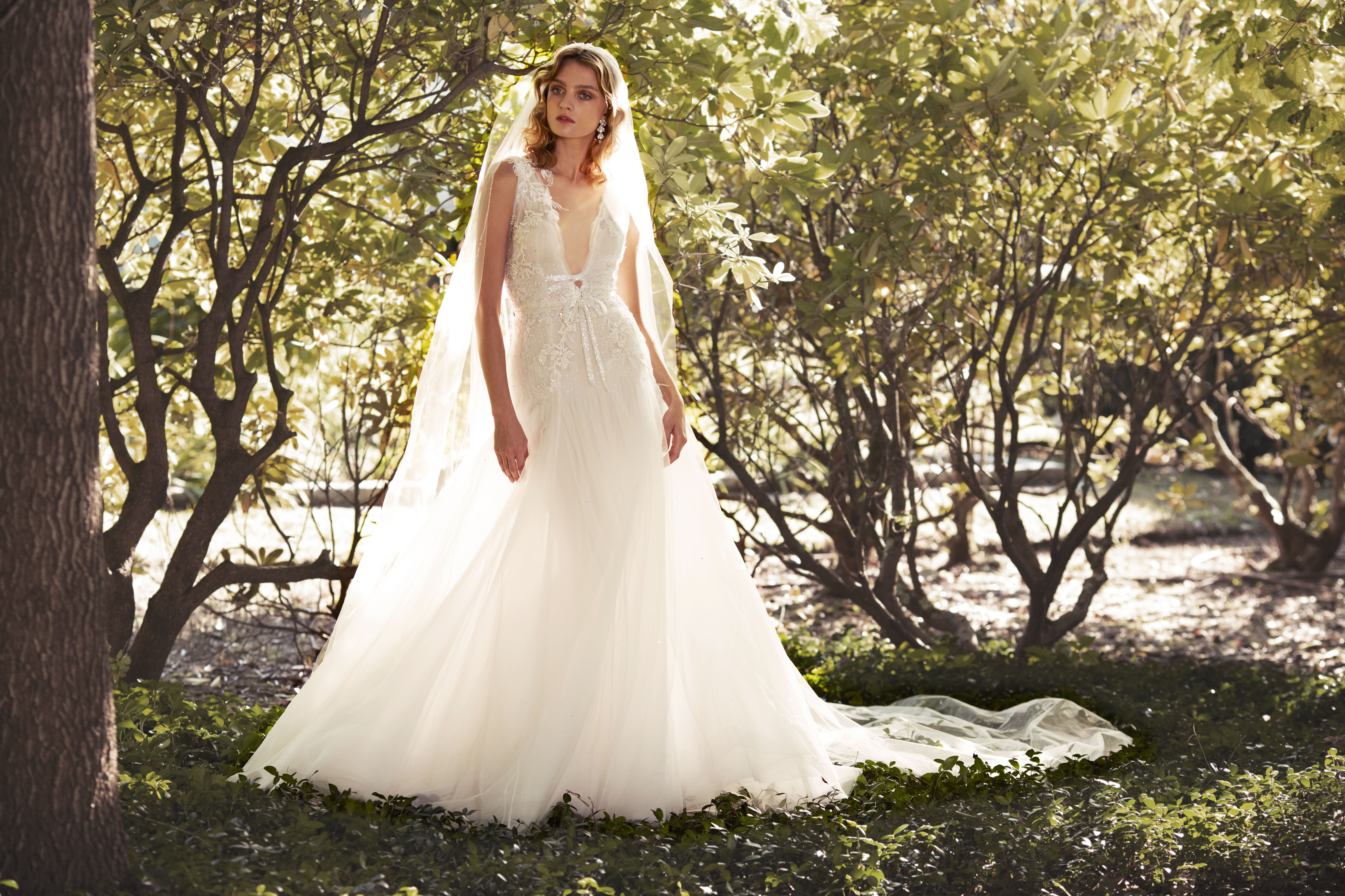 Marchesa plunging v-neck ball gown wedding dress fall 2019