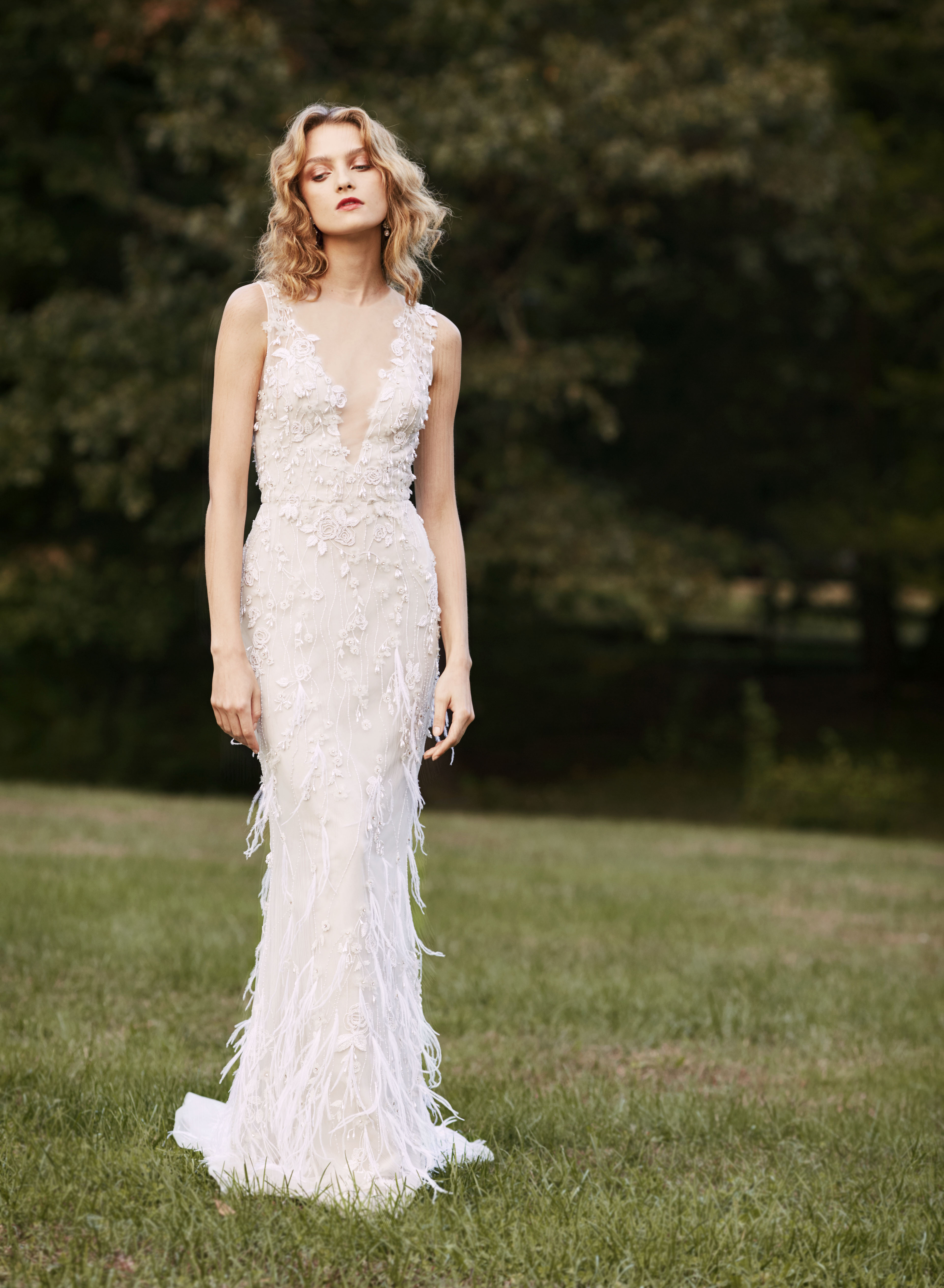 Marchesa plunging v-neck feathers wedding dress fall 2019