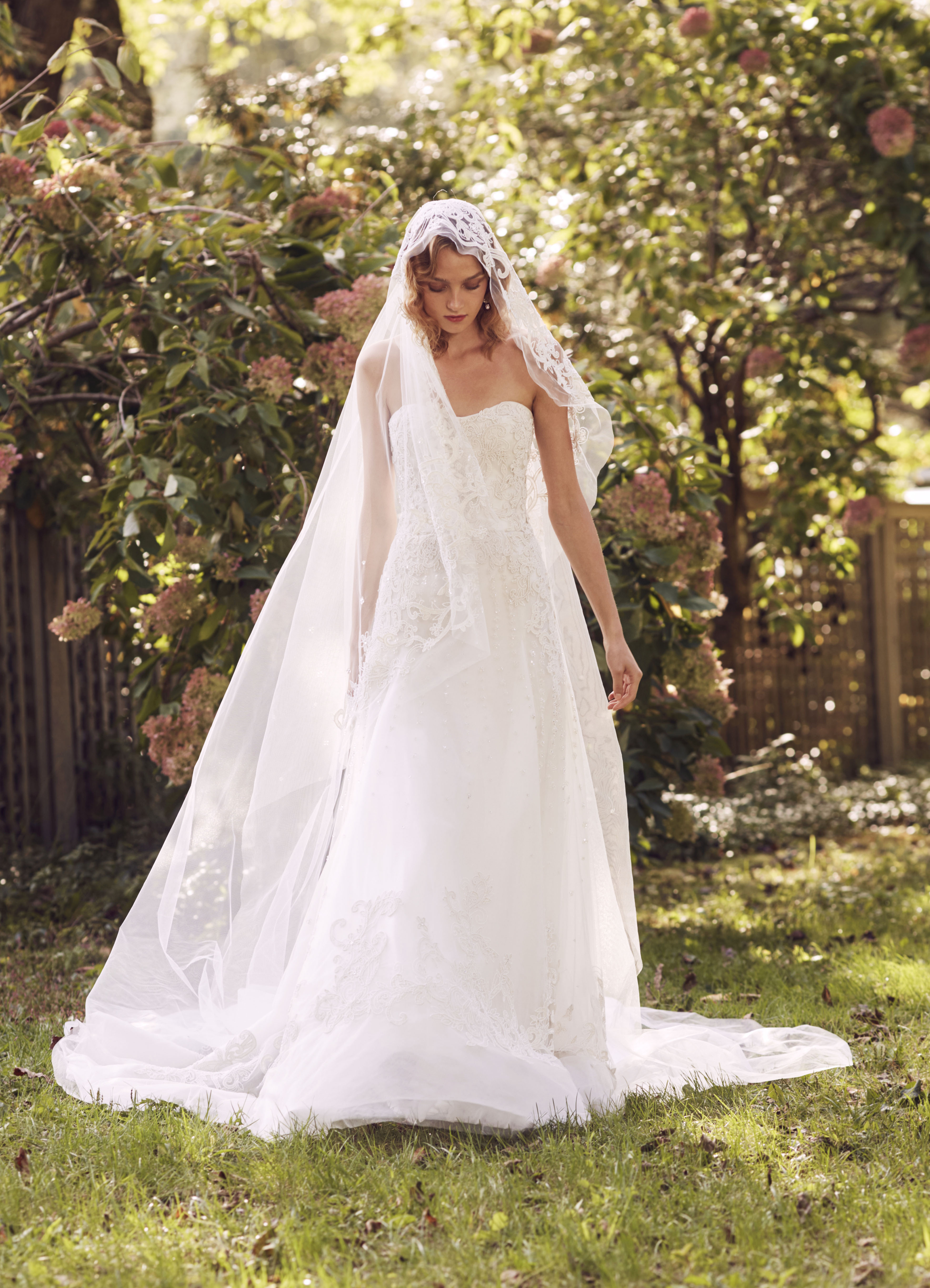 Marchesa sweetheart with veil and train wedding dress fall 2019