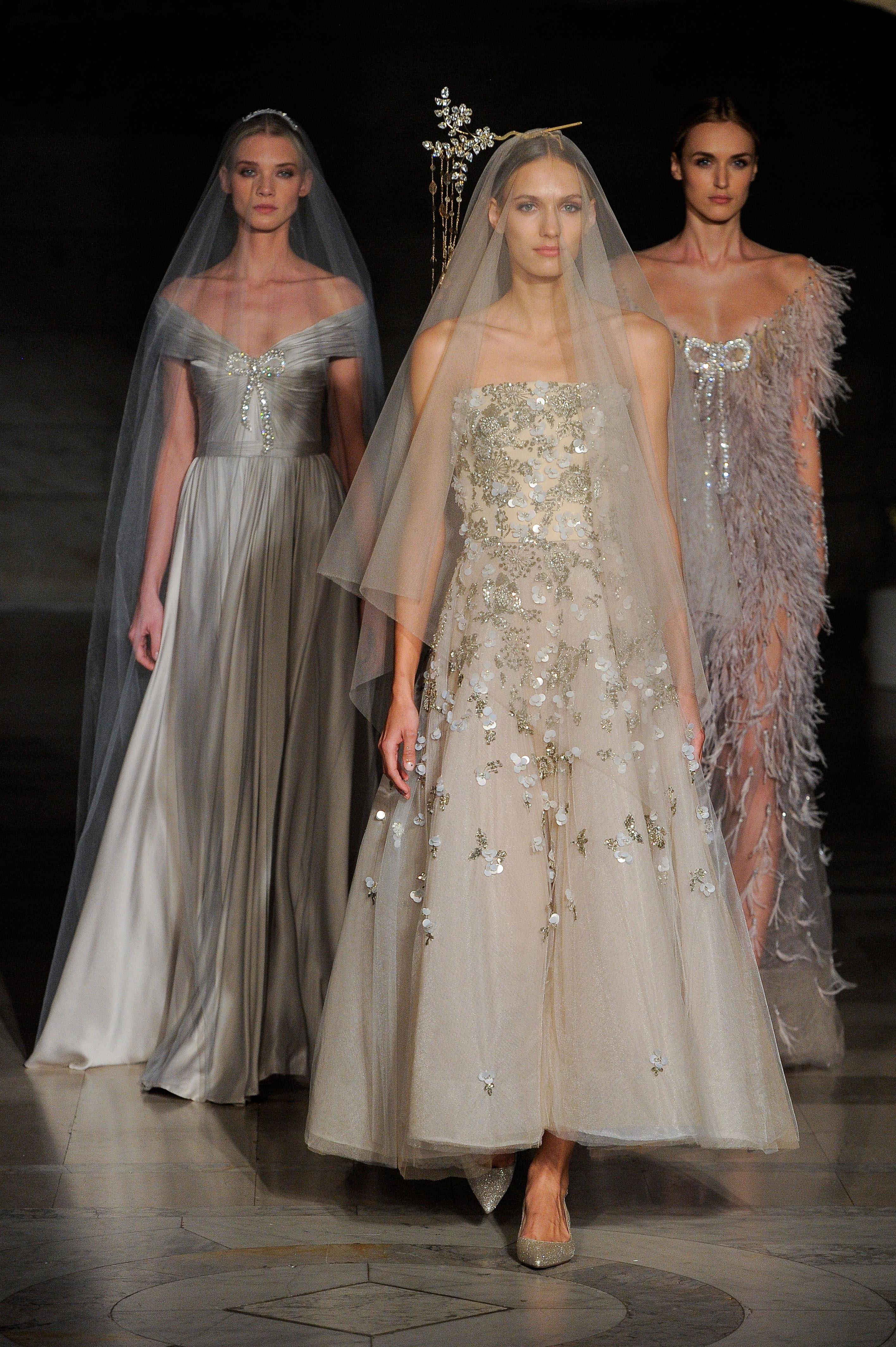 reem acra fall 2019 sheer gold metallic wedding dress