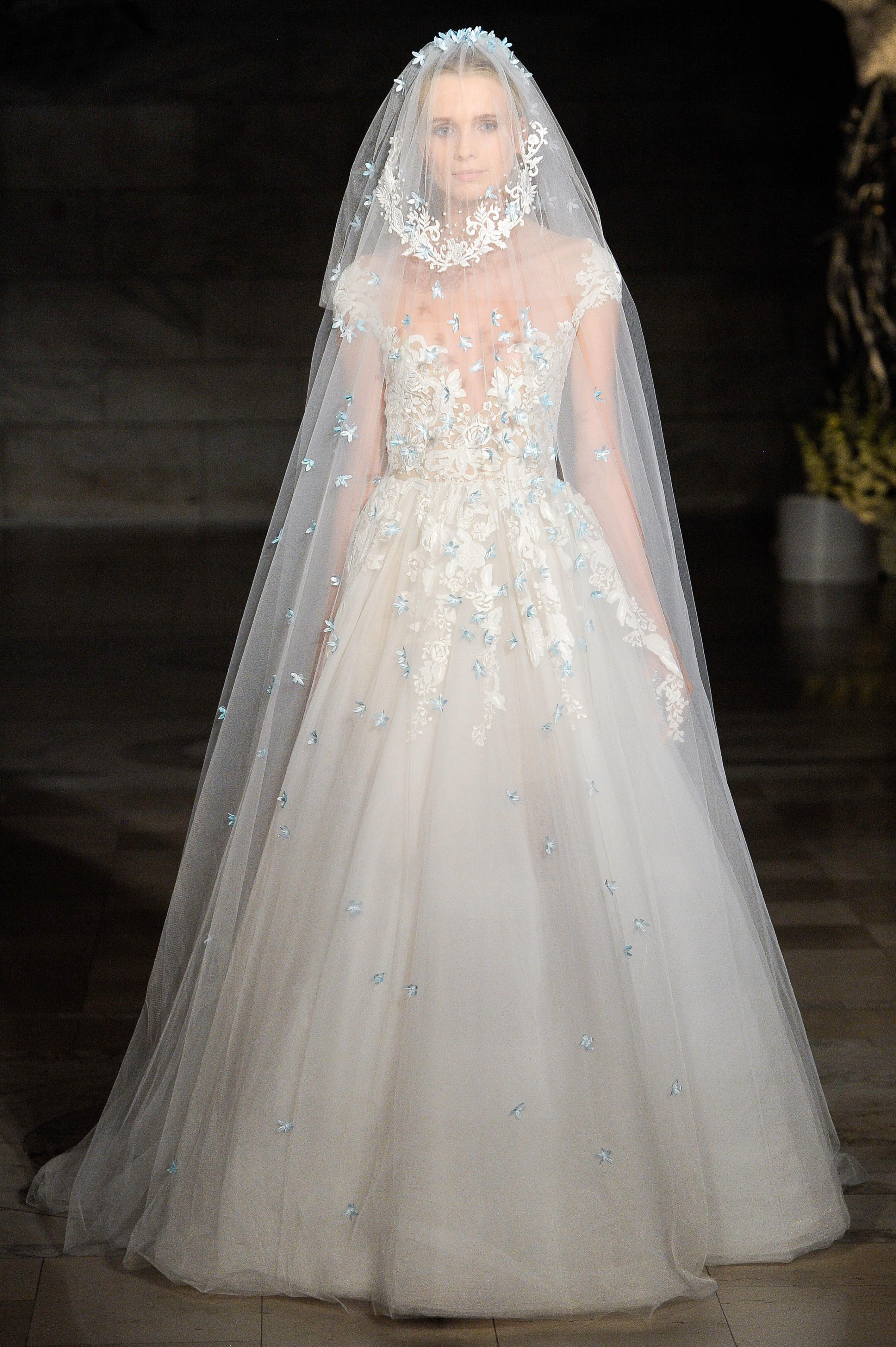reem acra fall 2019 sheath ball gown floral applique wedding dress
