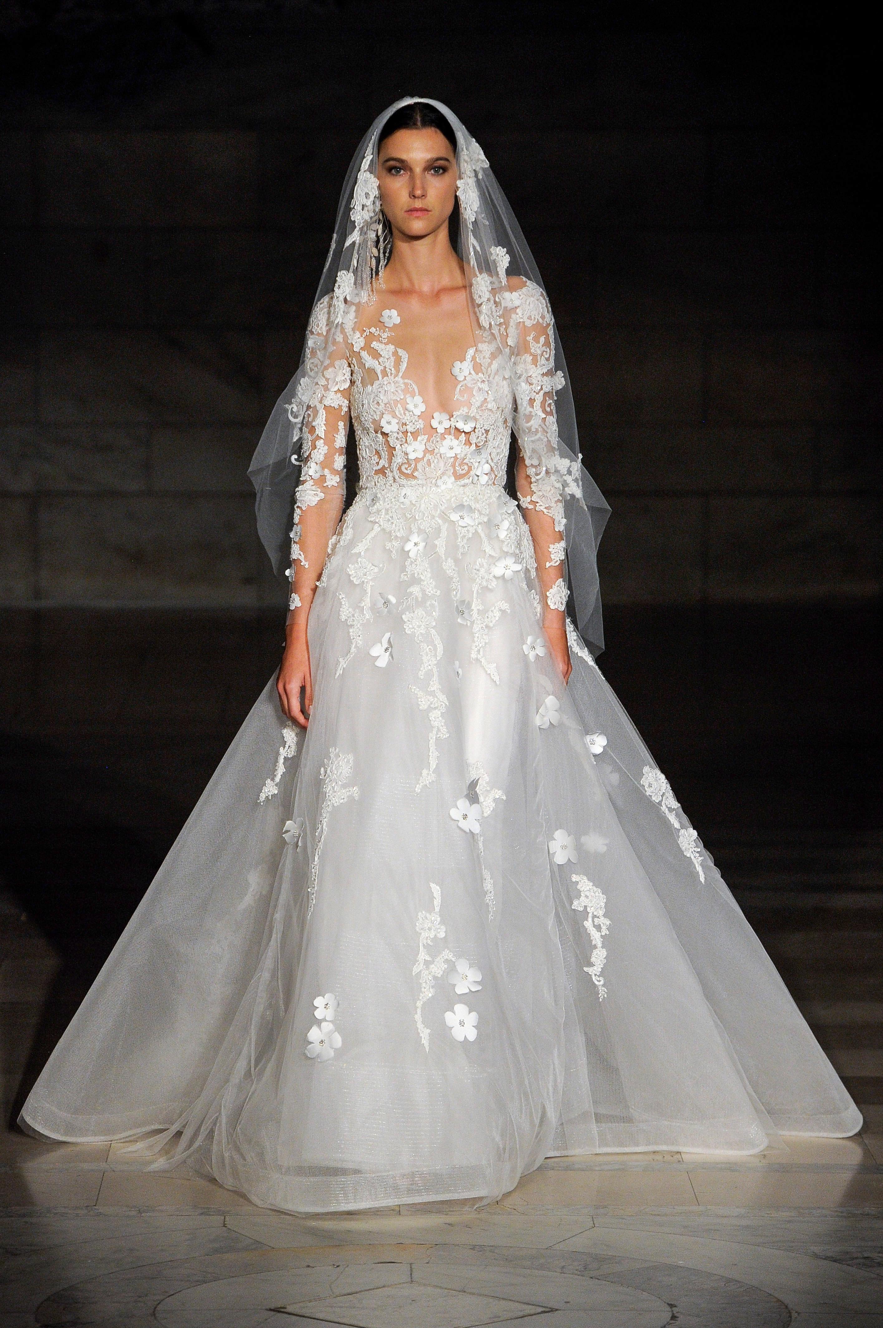 reem acra fall 2019 sheath flutter sleeves v-neck wedding dress