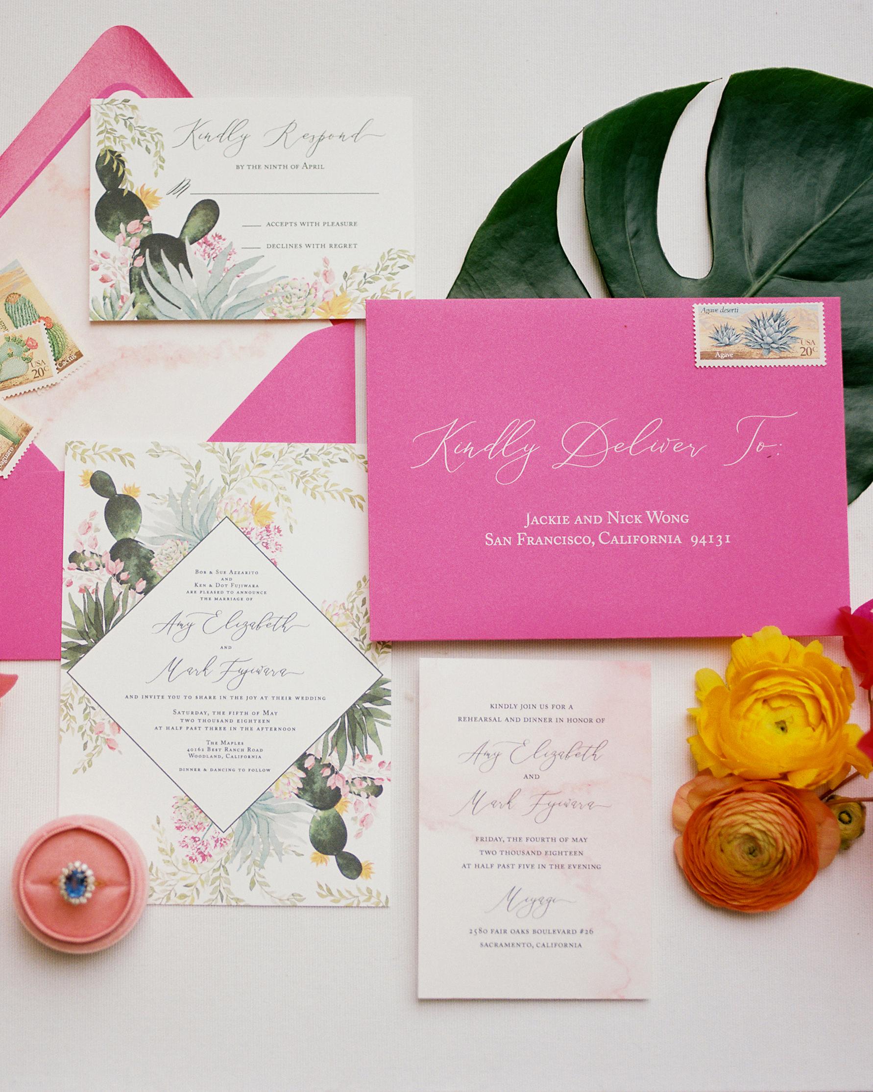 amy mark california invitation pink