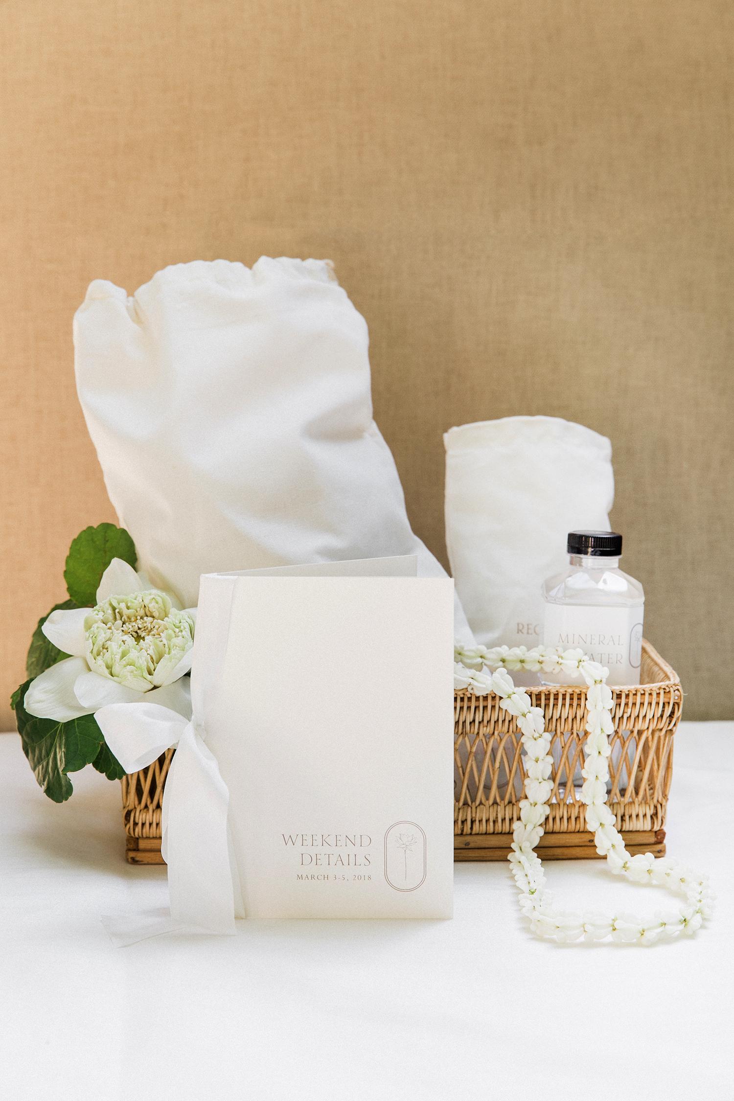 stacy brad wedding thailand welcome box