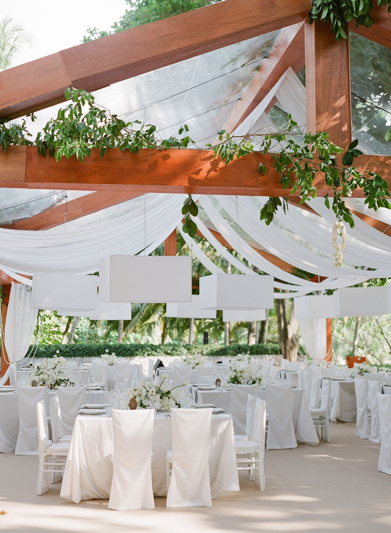 stacy brad wedding thailand reception white tables