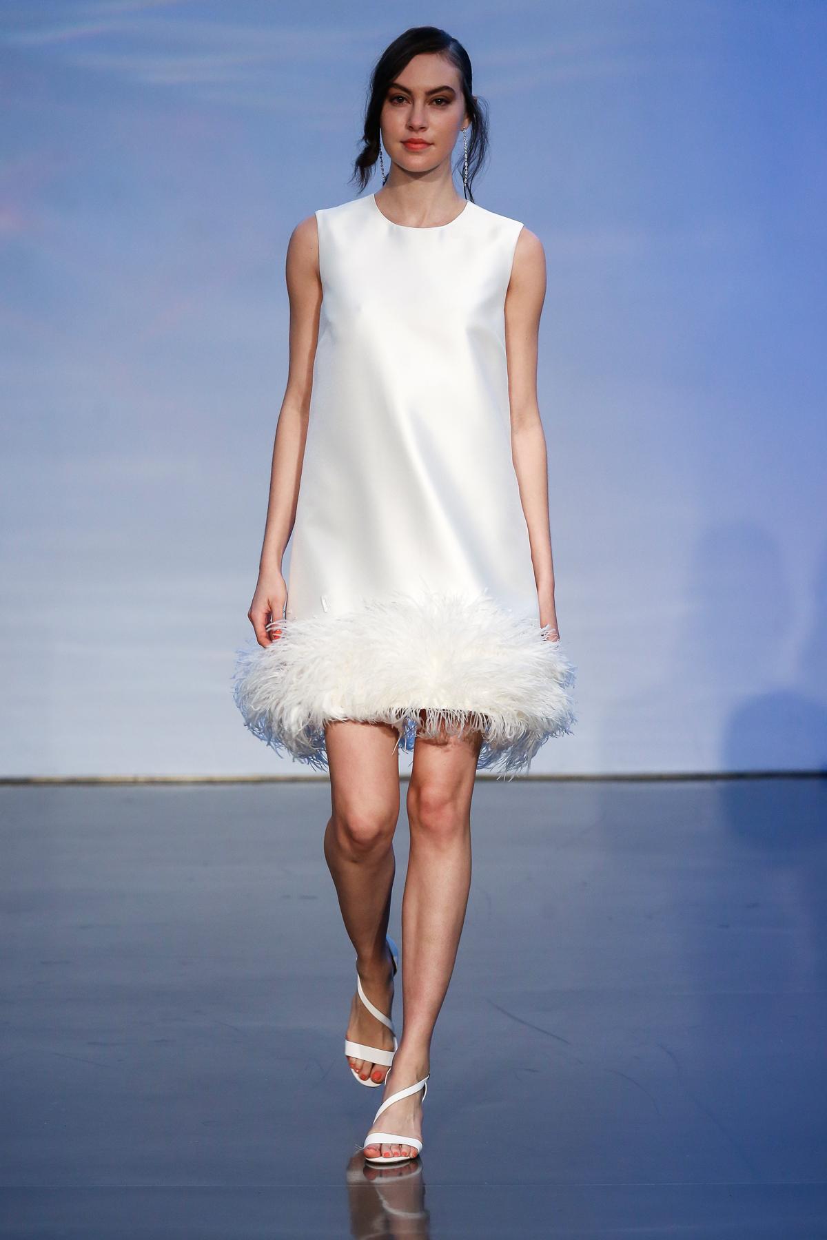 justin alexander signature fall 2019 short high neckline dress with feather hemline