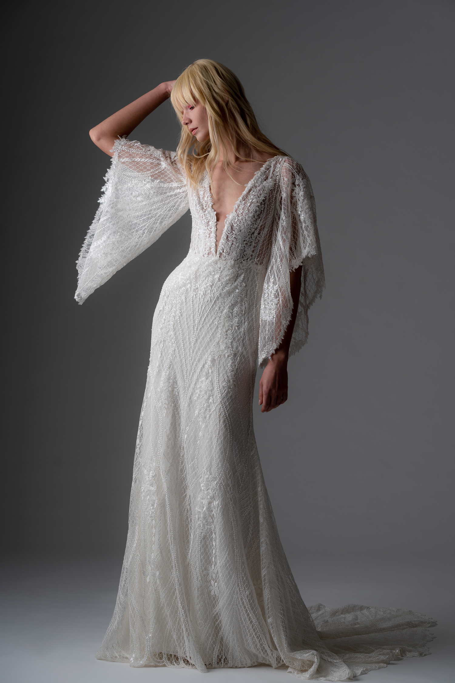 alyne rita vinieris fall 2019 lace deep v-neck sheath with flutter sleeves