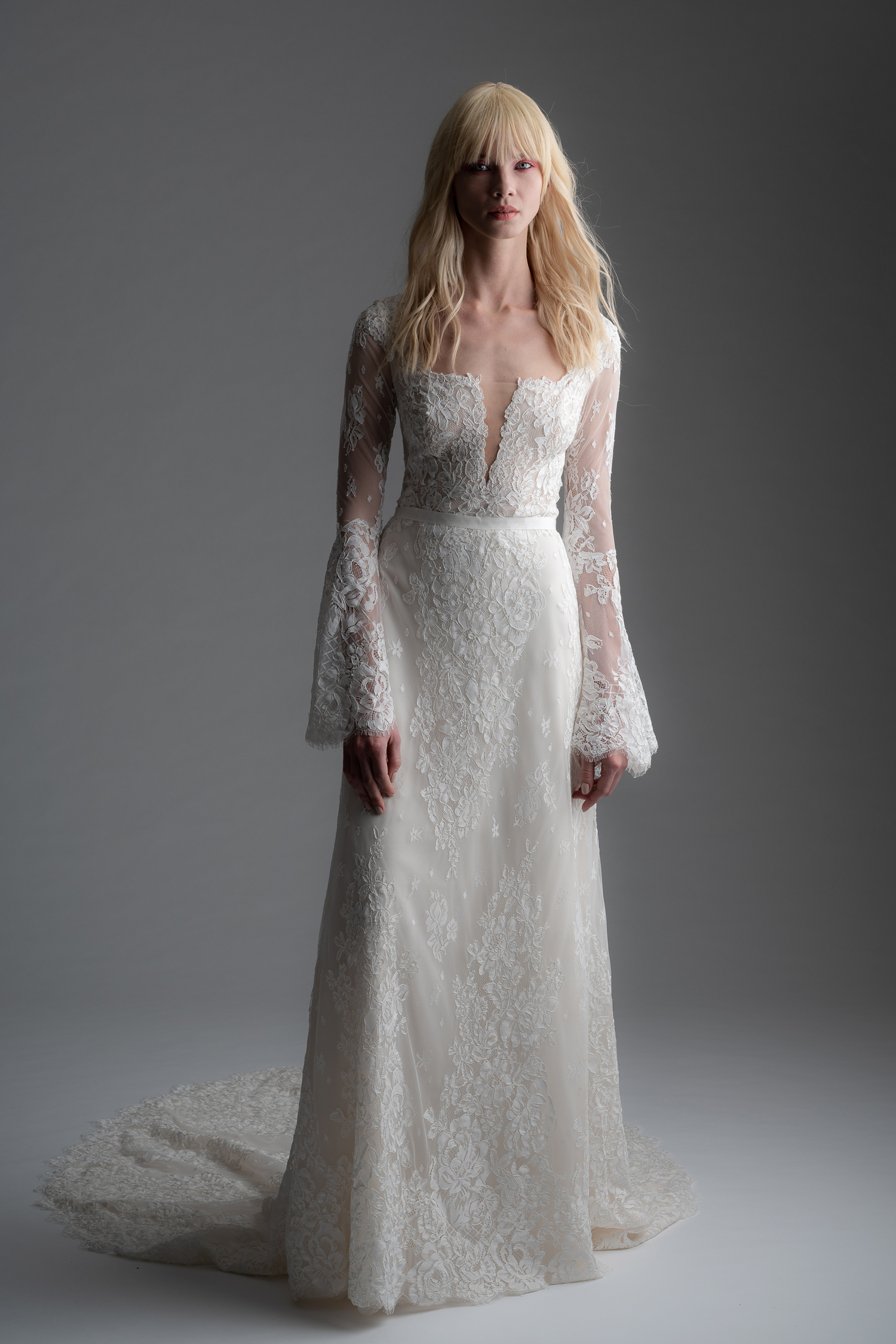 alyne rita vinieris fall 2019 lace sheath with long bell sleeves
