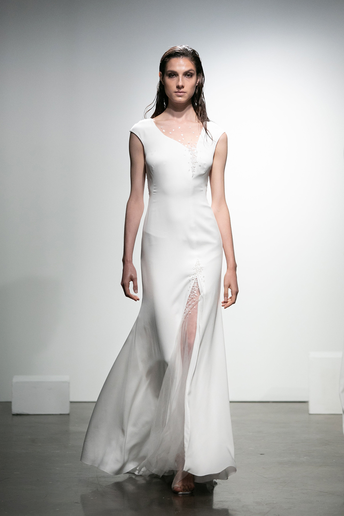 rime arodaky fall 2019 mermaid asymmetrical cap sleeves sheer slit