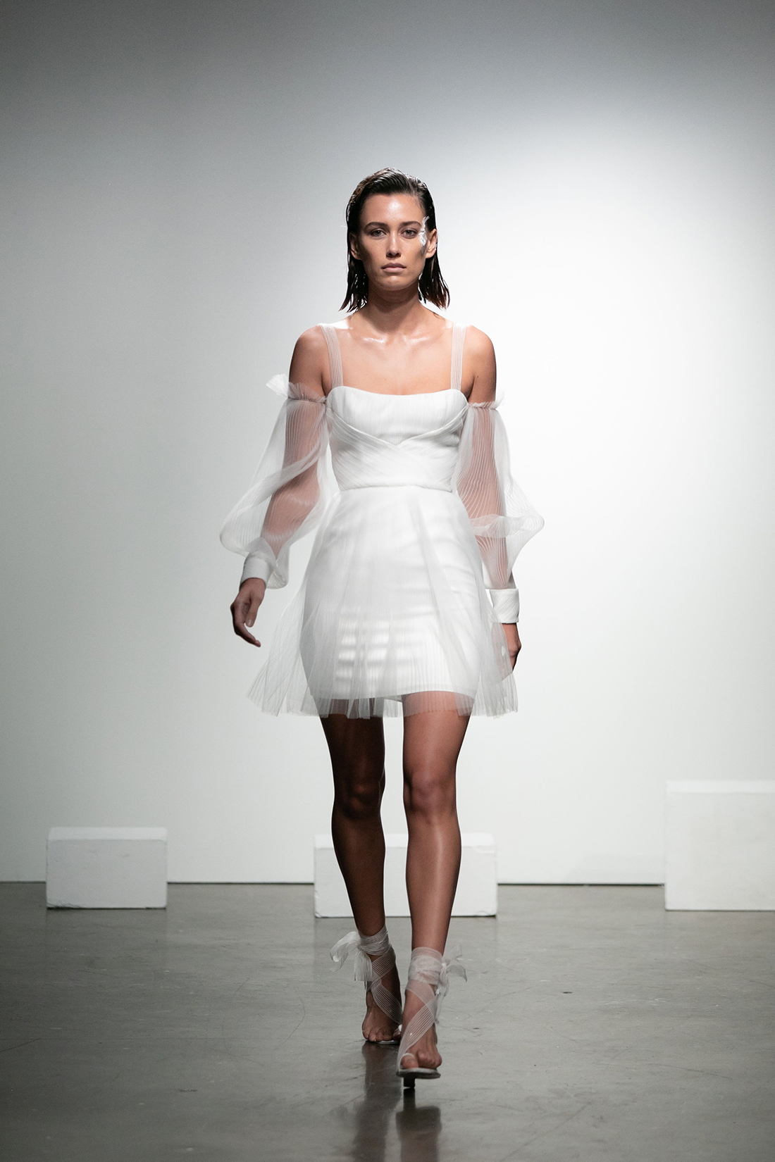 rime arodaky fall 2019 short a line sheer strap flutter sleeves
