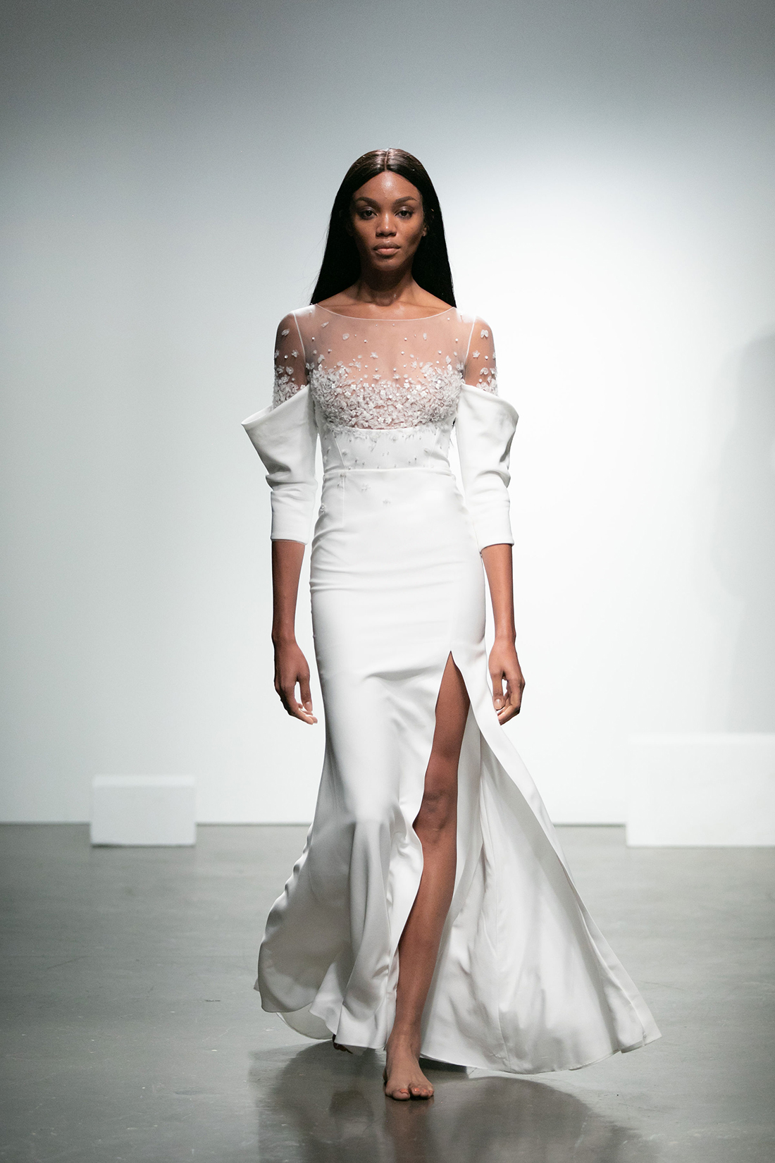 rime arodaky fall 2019 trumpet high slit illusion high neckline three quarter sleeves sequin applique