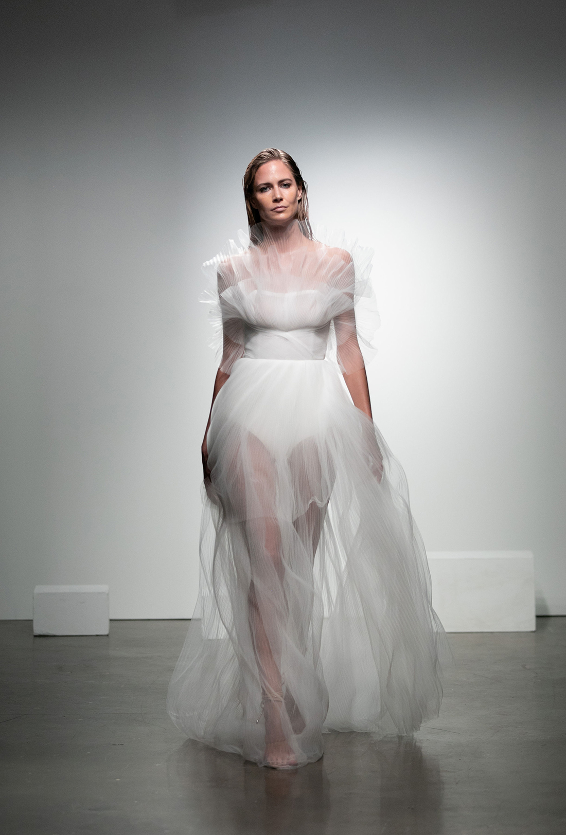 rime arodaky fall 2019 sheer skirt tulle overlay strapless