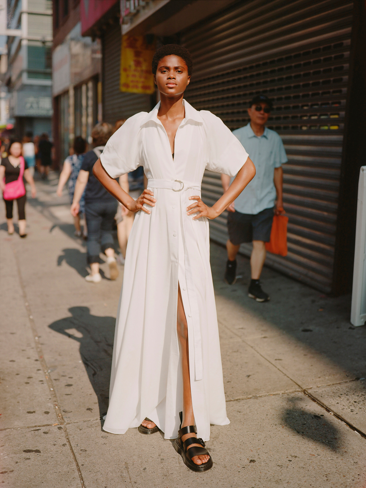 lein fall 2019 belted short sleeved v-neck a-line dress with collar and slit