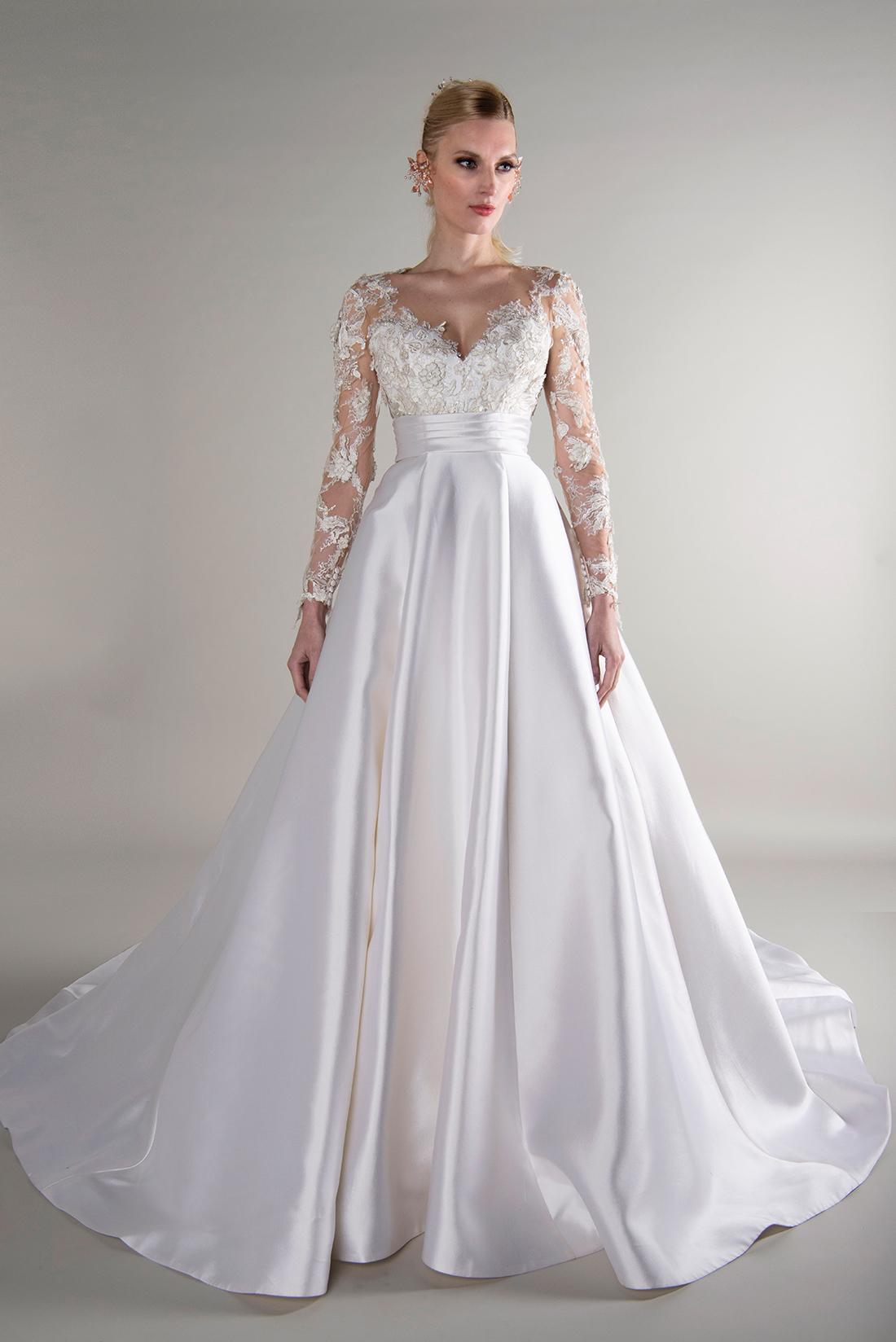 yumi katsura fall 2019 ball gown sweetheart illusion long sleeves sheer floral applique