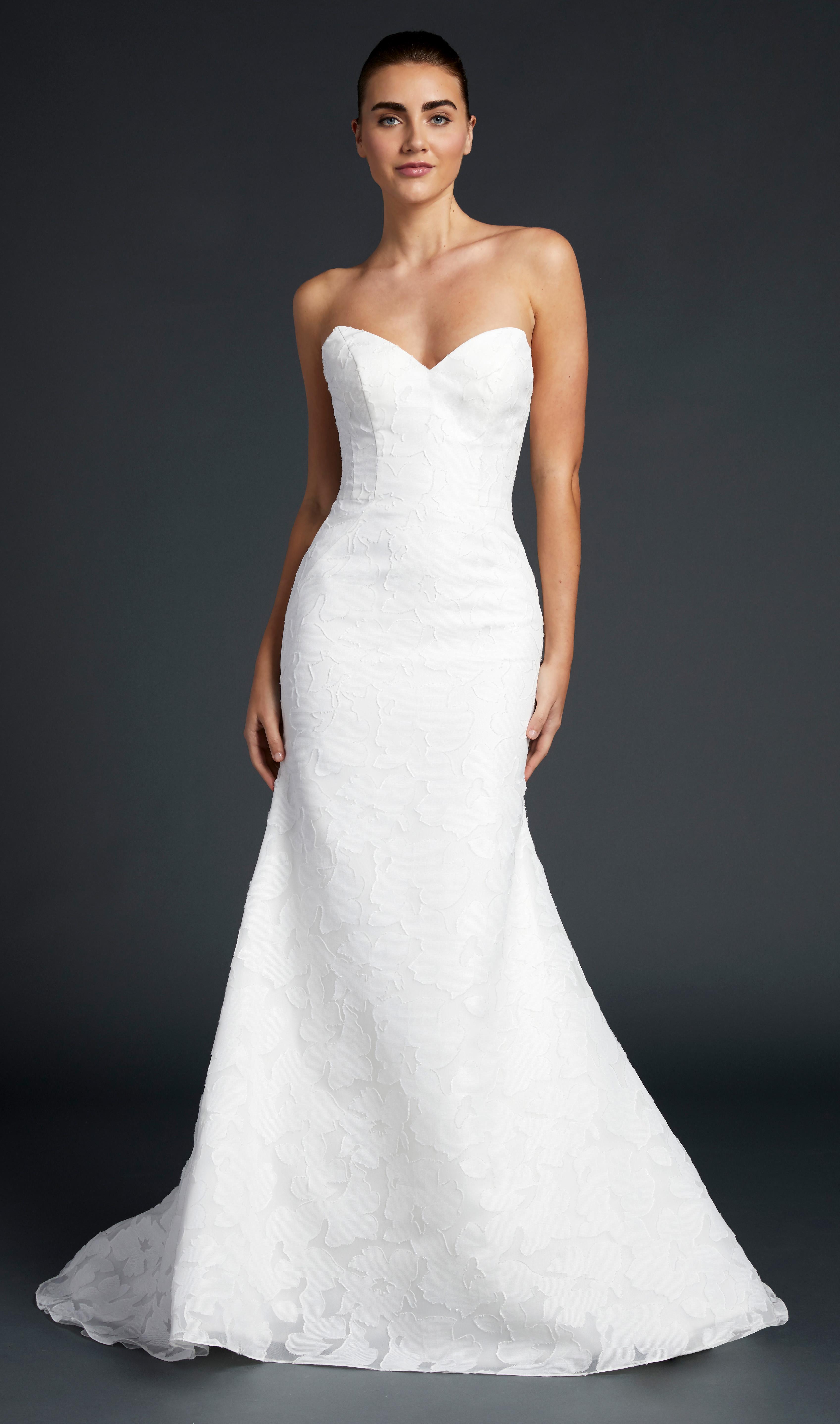 blue willow wedding dress strapless trumpet sweetheart