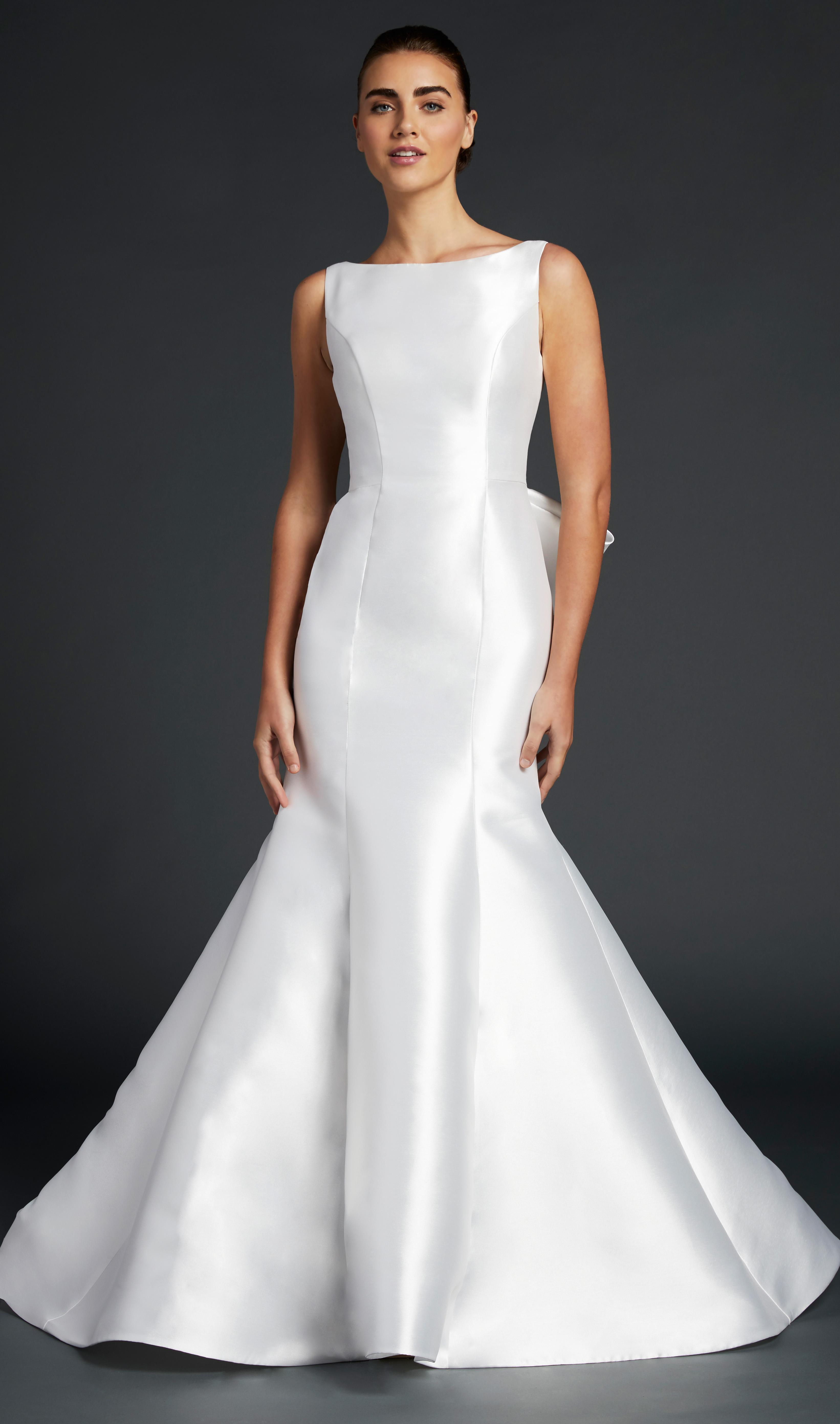 blue willow wedding dress sleeveless high neck satin trumpet