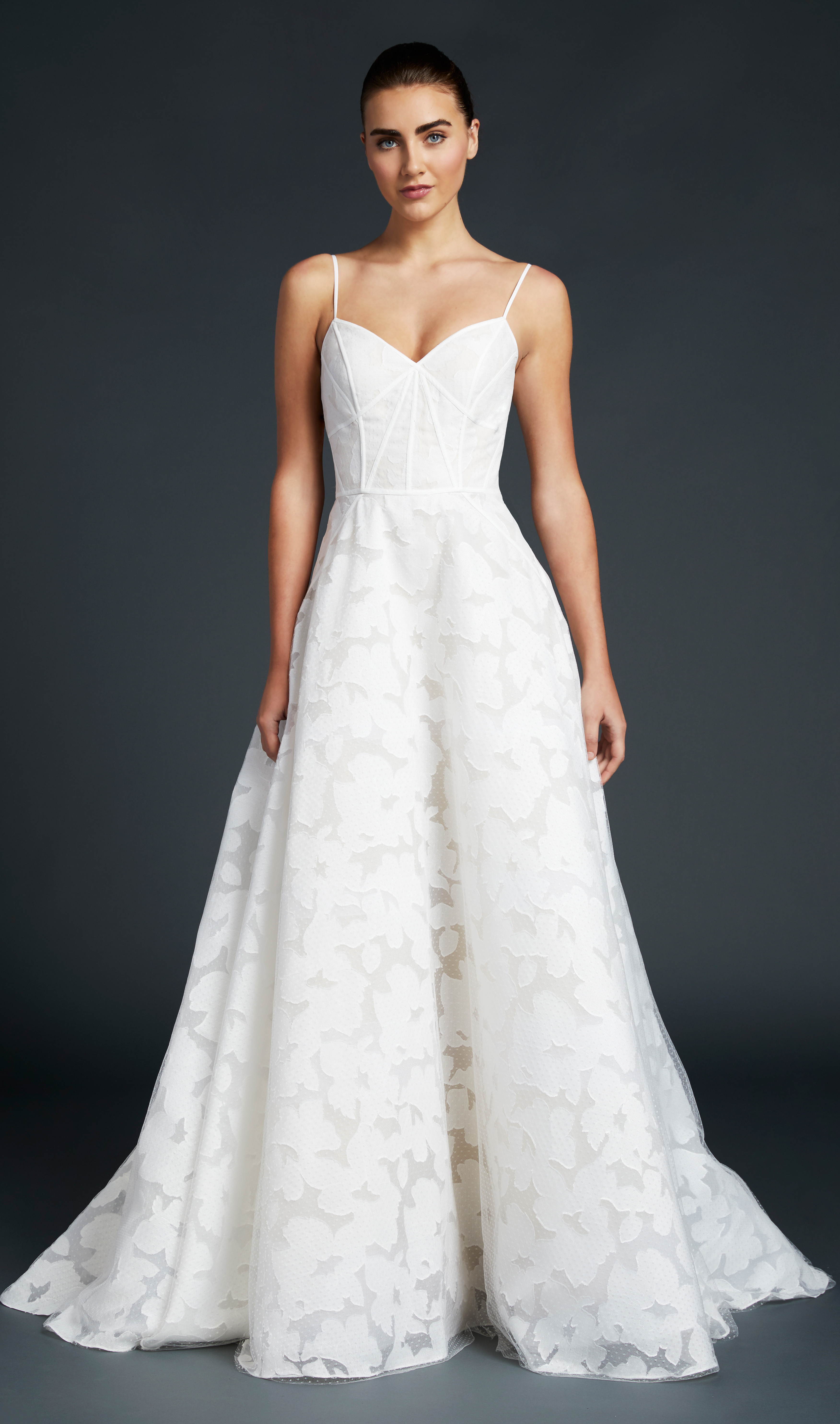 blue willow wedding dress spaghetti straps a-line flower pattern