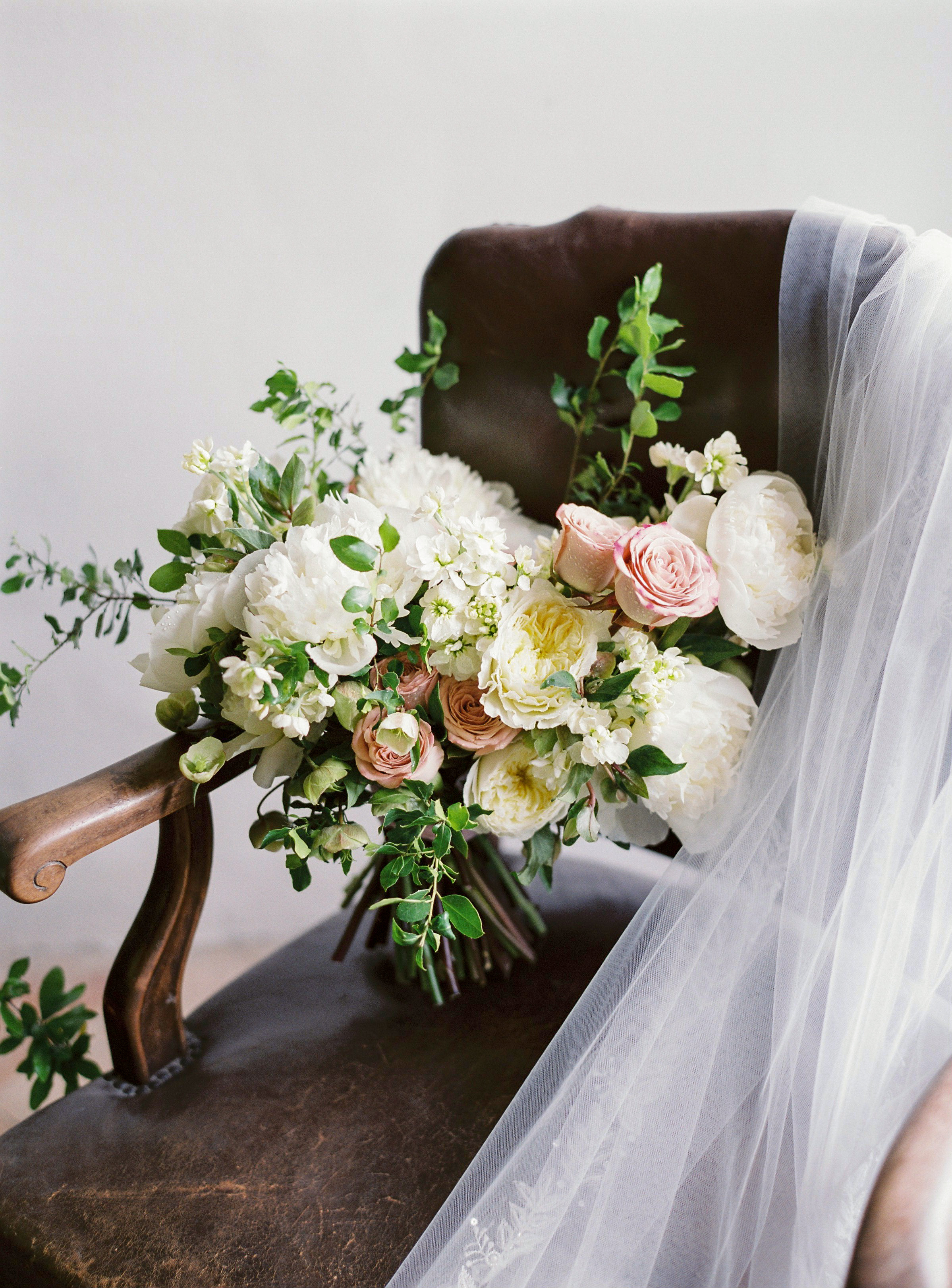 wedding bouquet ivory flowers and pink rose mix