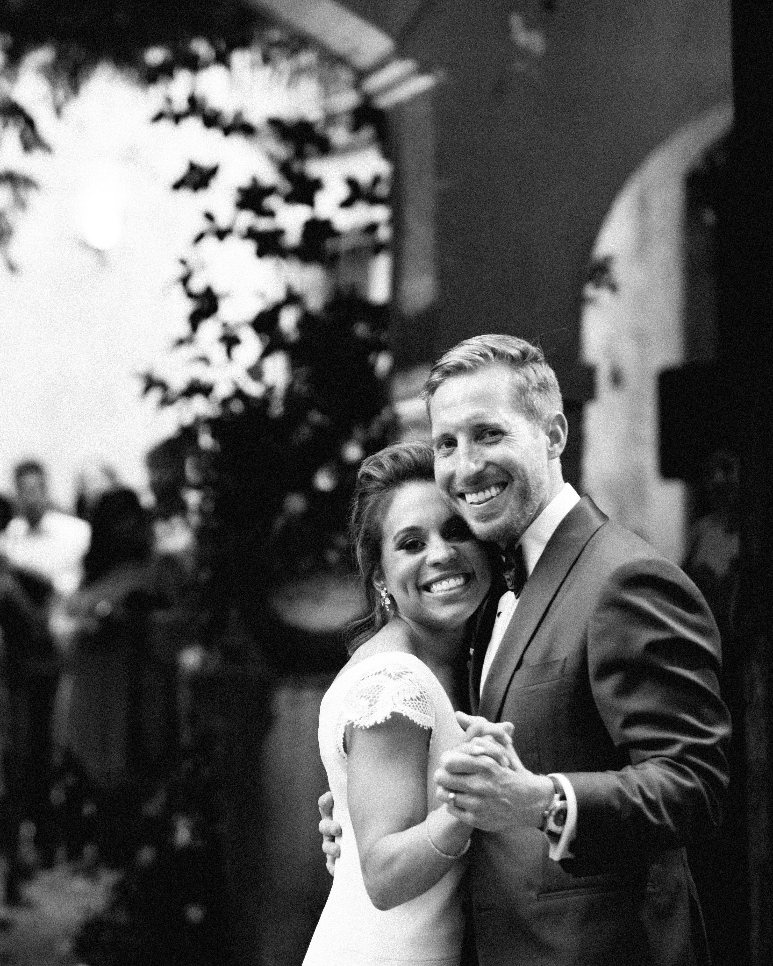 wedding couple dance black and white image